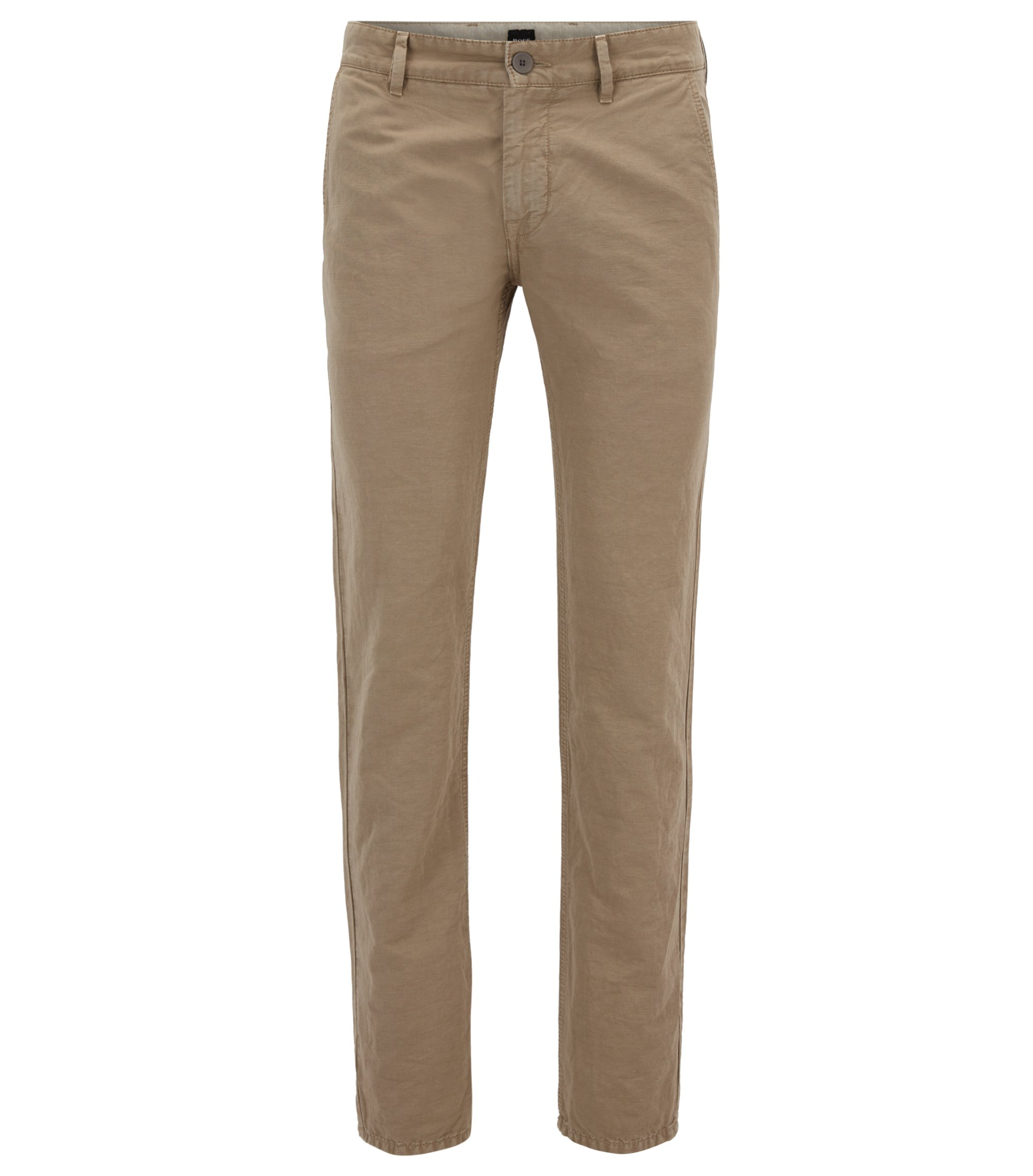 Pantaloni slim fit in misto cotone, Beige