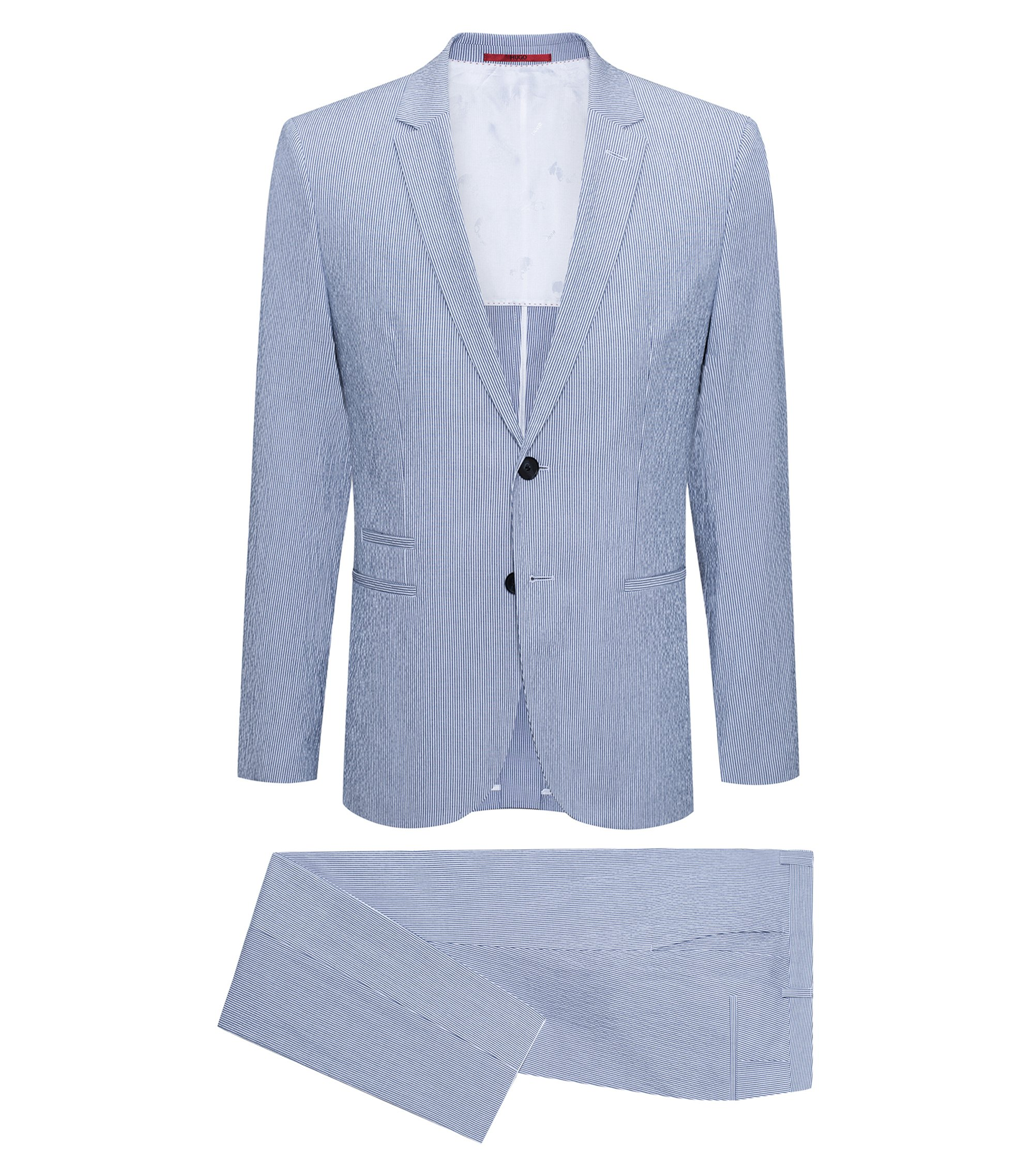 Extra-slim-fit suit in striped stretch cotton , Turquoise