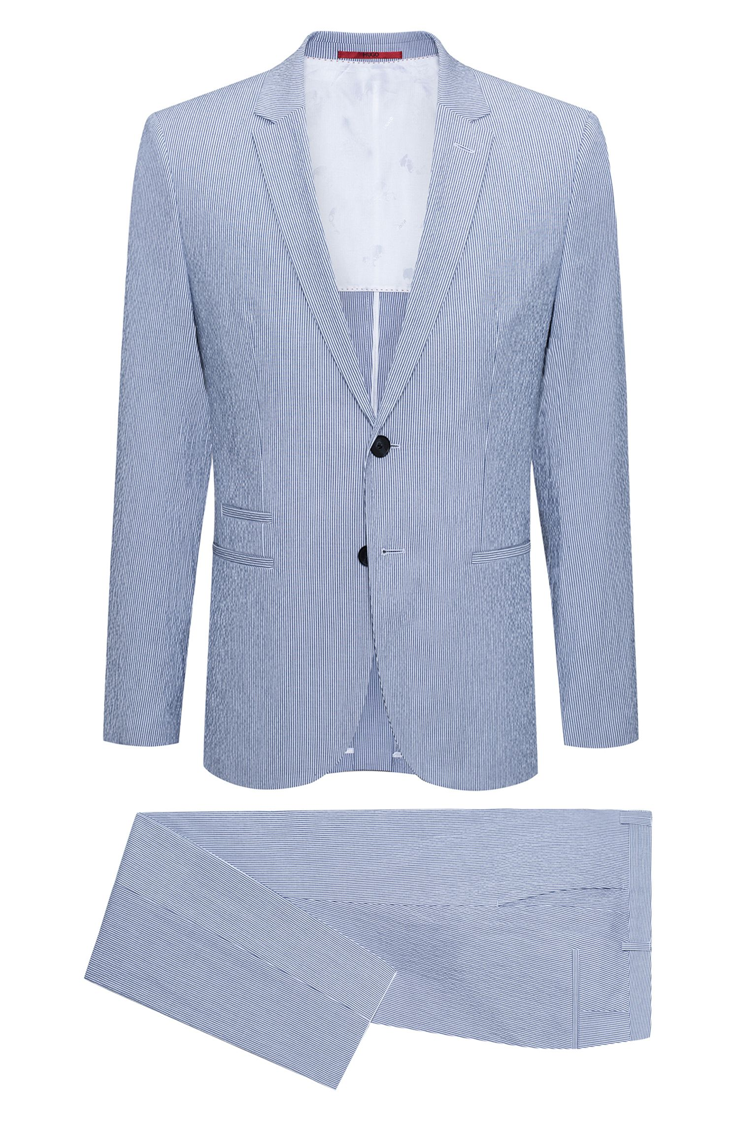 Extra-slim-fit suit in striped stretch cotton