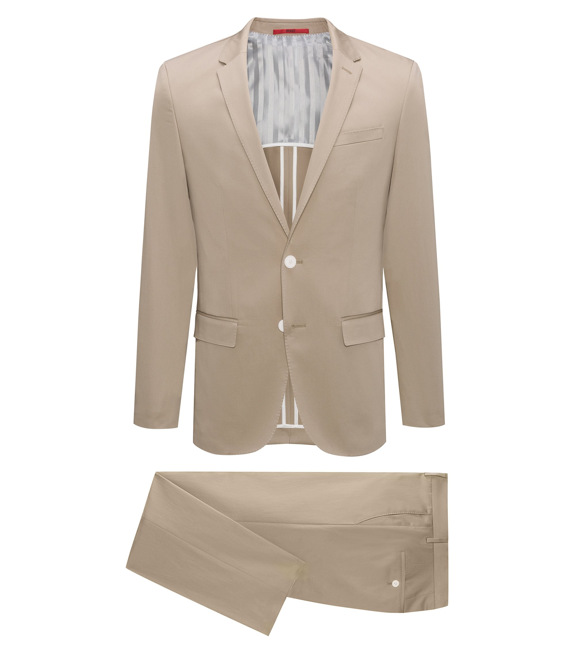 Costume slim fit en coton stretch, Beige