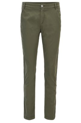 Relaxed-fit chino trousers in stretch cotton, Khaki