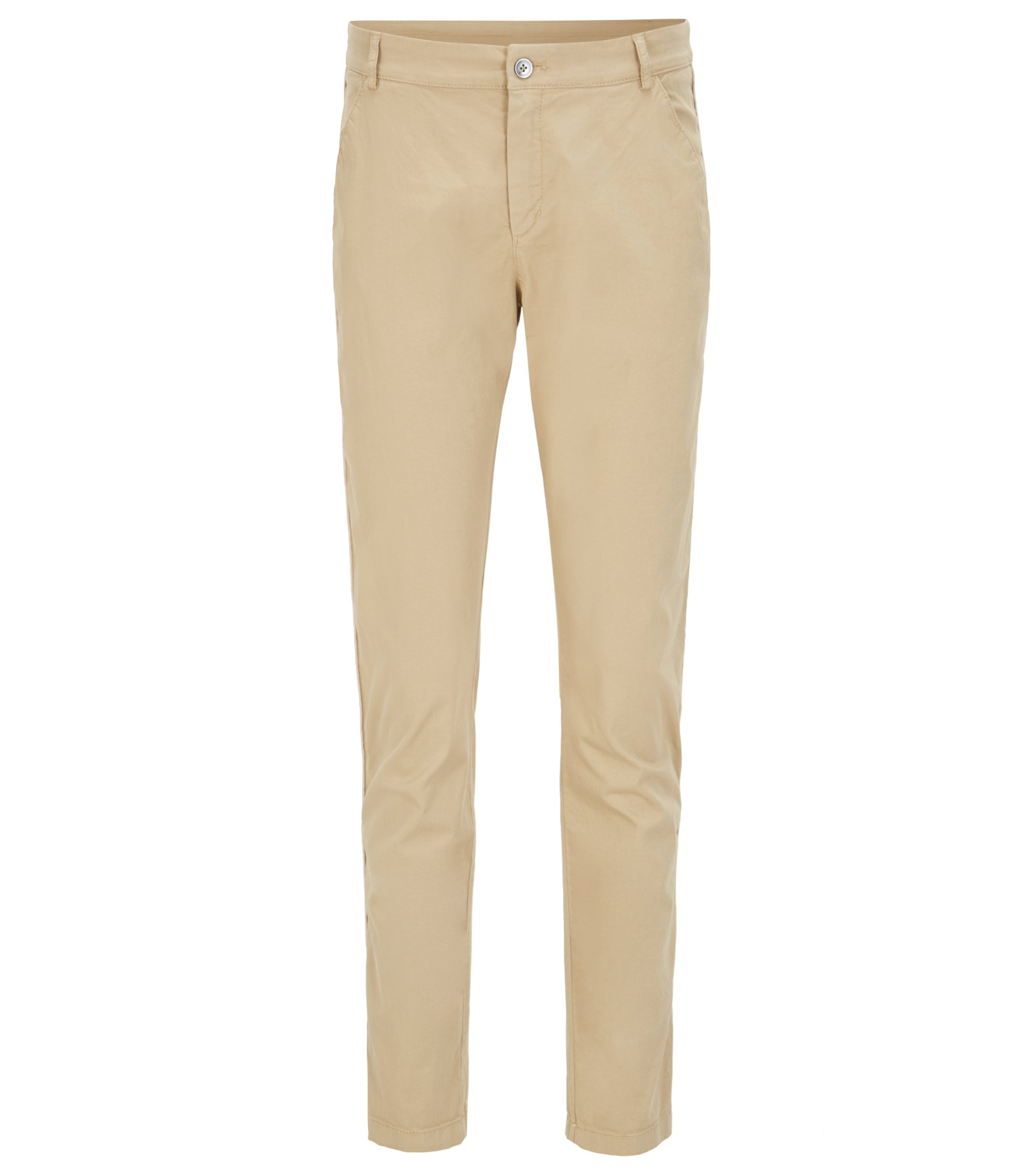 Relaxed-fit chino trousers in stretch cotton, Beige