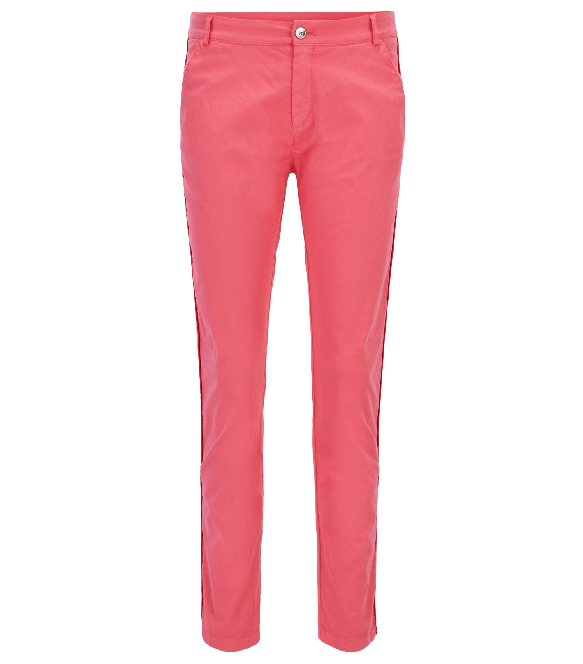 Relaxed-fit chino trousers in stretch cotton, Pink