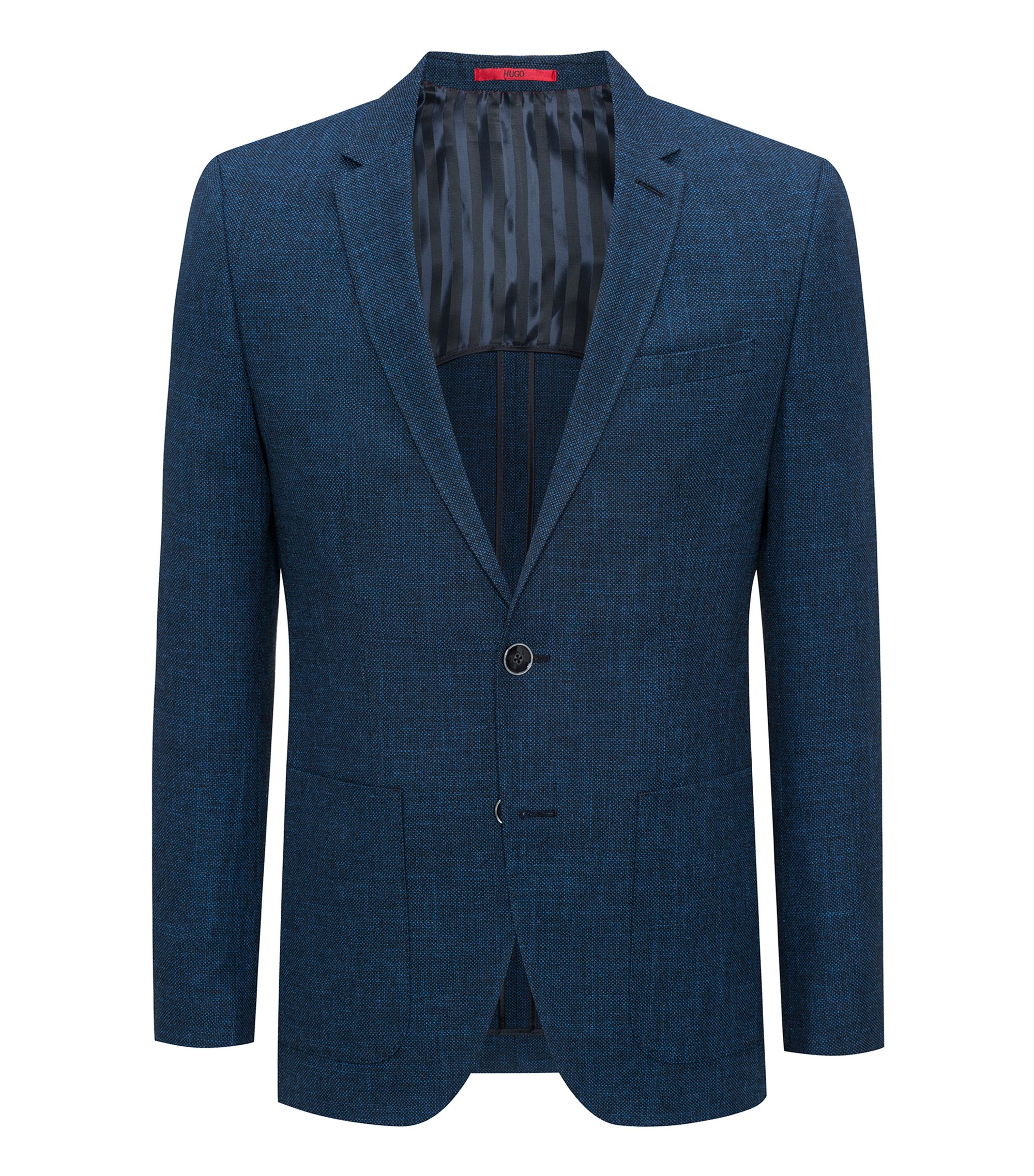 Slim-fit jacket in birdseye melange fabric, Blue