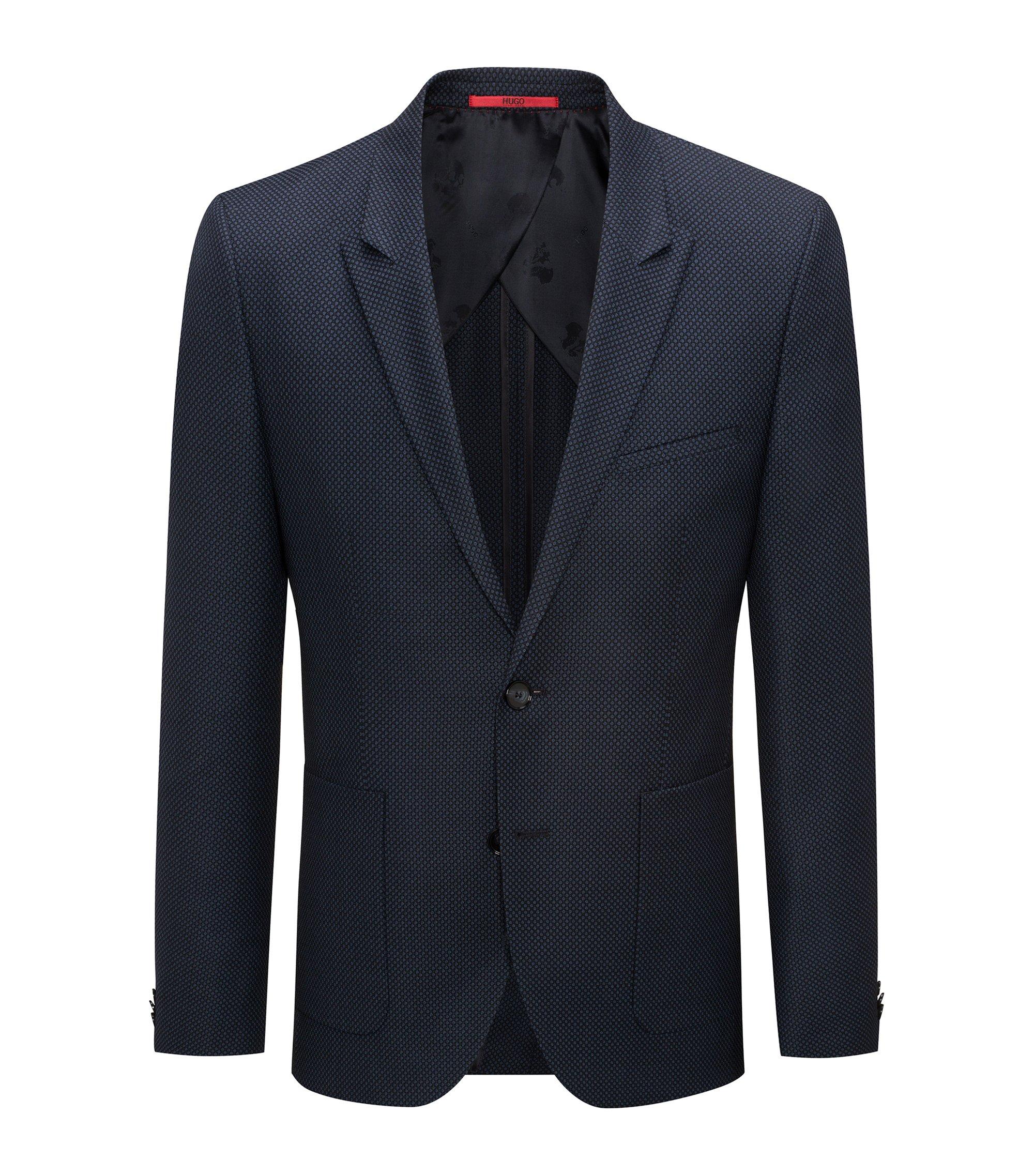 Giacca extra slim fit in lana vergine con motivo a occhio di pernice oversize, Blu scuro