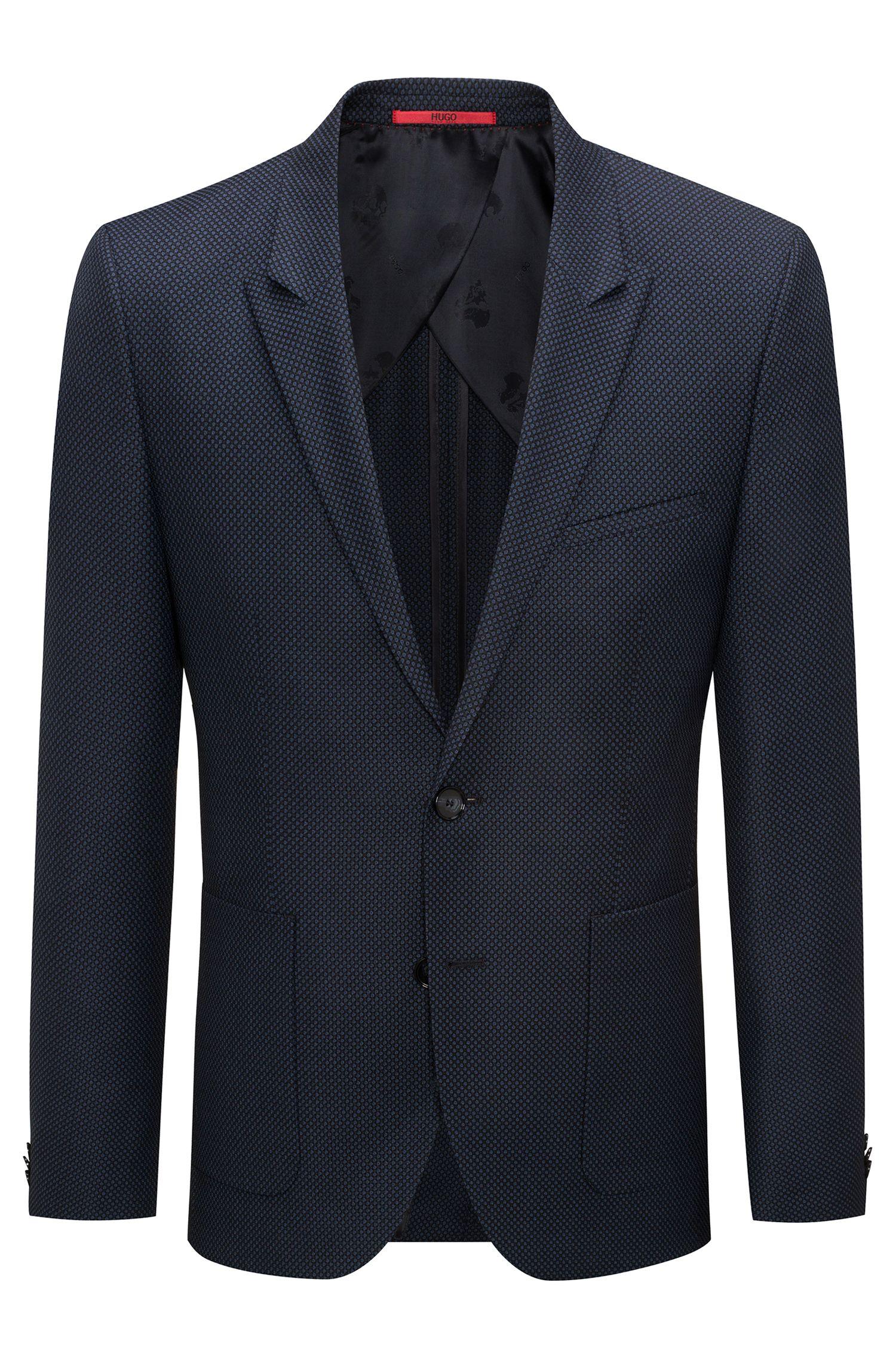 Giacca extra slim fit in lana vergine con motivo a occhio di pernice oversize