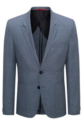 Extra-slim-fit virgin wool jacket in oversized birdseye pattern, Turquoise