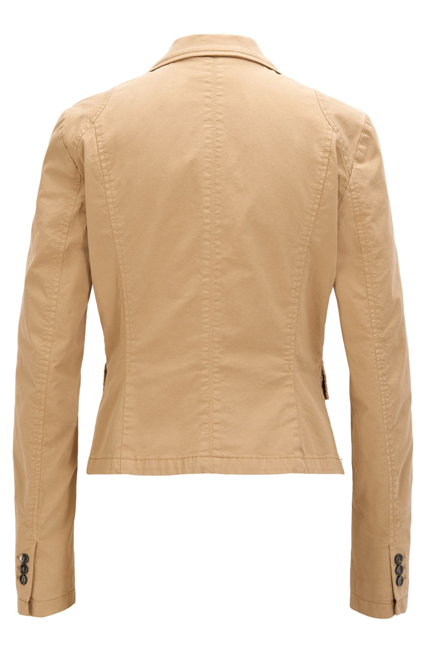 Regular-fit tailored jacket in stretch cotton, Beige