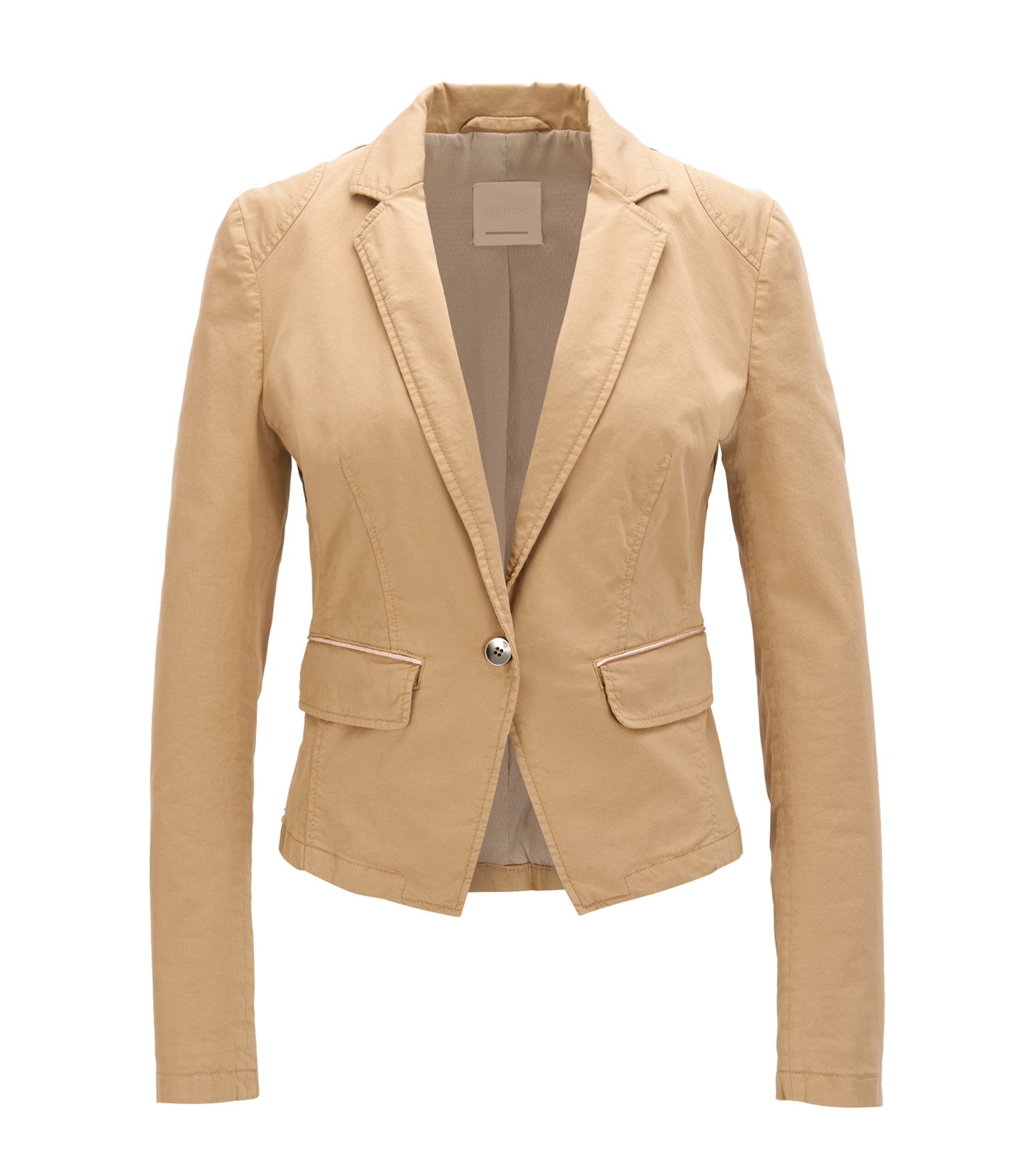 Blazer ajusté Regular Fit en coton stretch, Beige