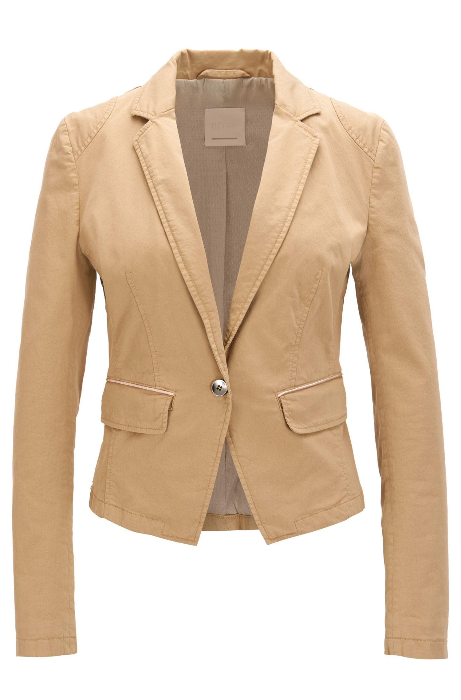 Regular-fit tailored jacket in stretch cotton