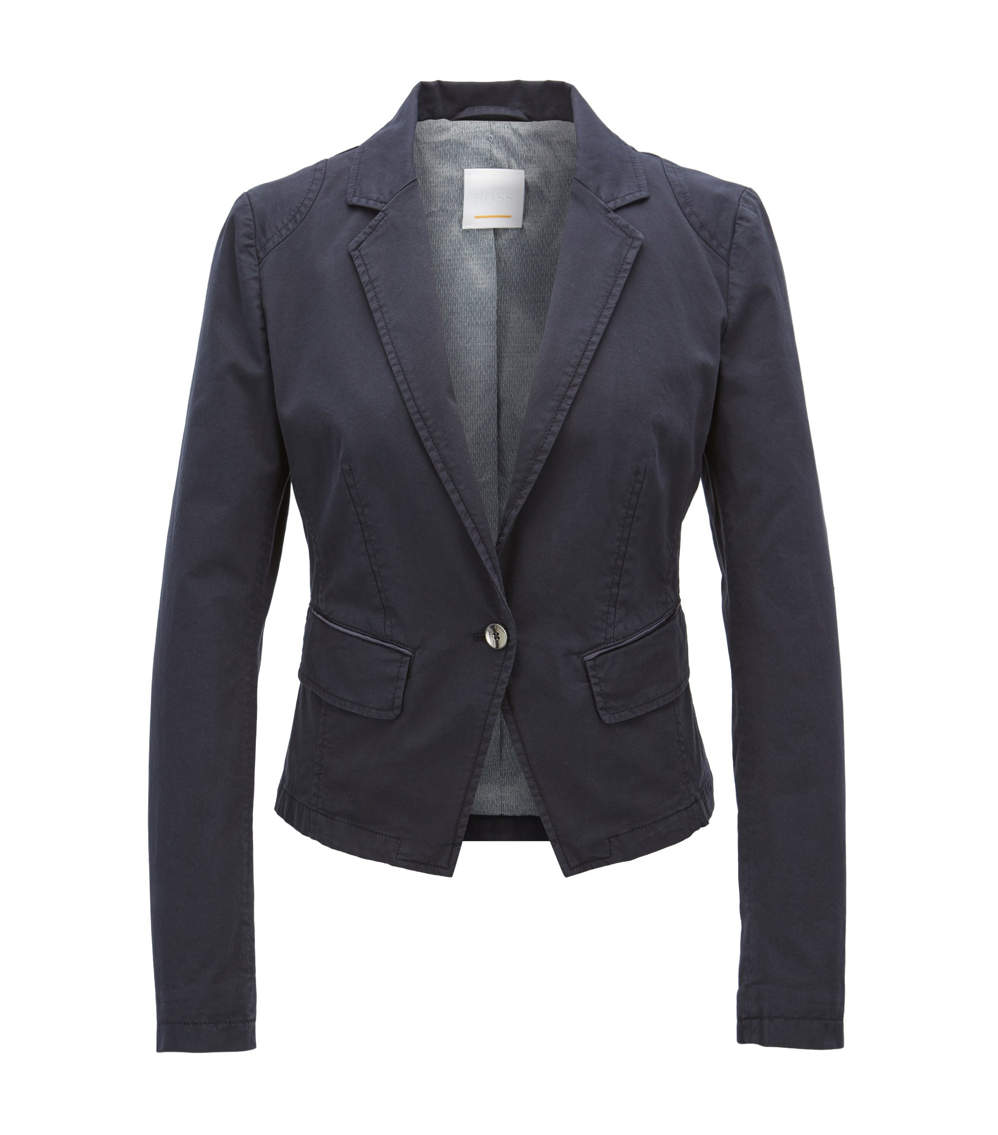 Regular-fit tailored jacket in stretch cotton, Dark Blue