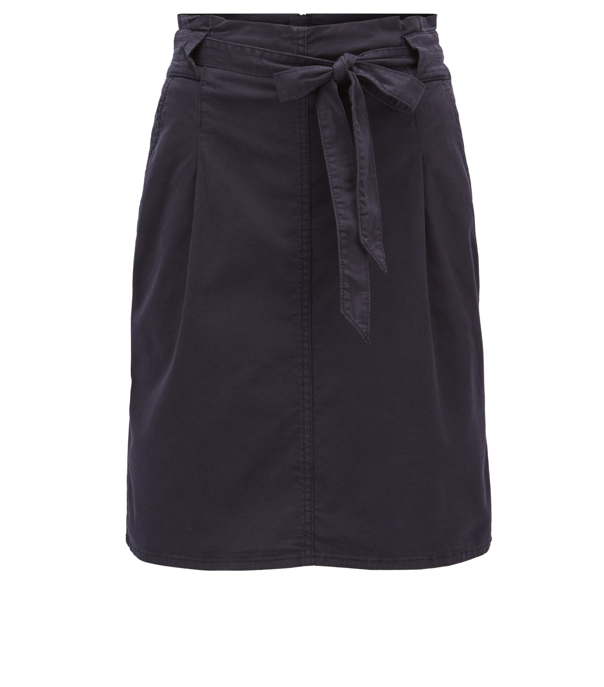 Utility-inspired pencil skirt in stretch cotton, Dark Blue