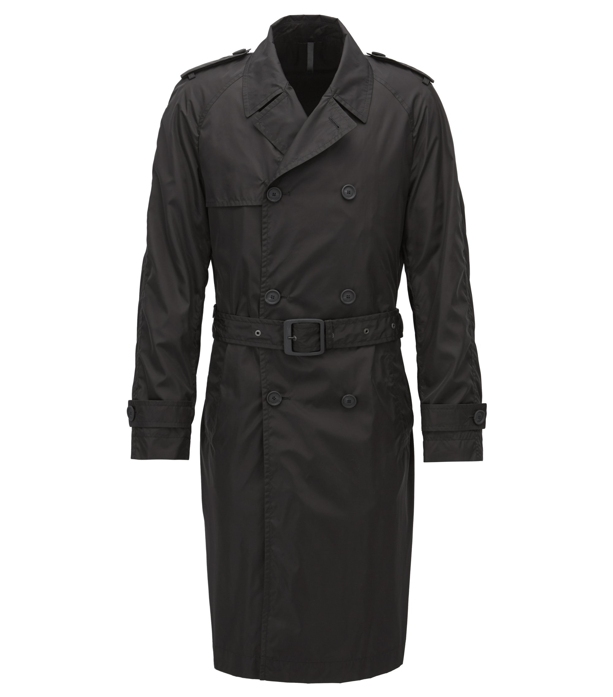 Slim-fit double-breasted coat in technical fabric, Black