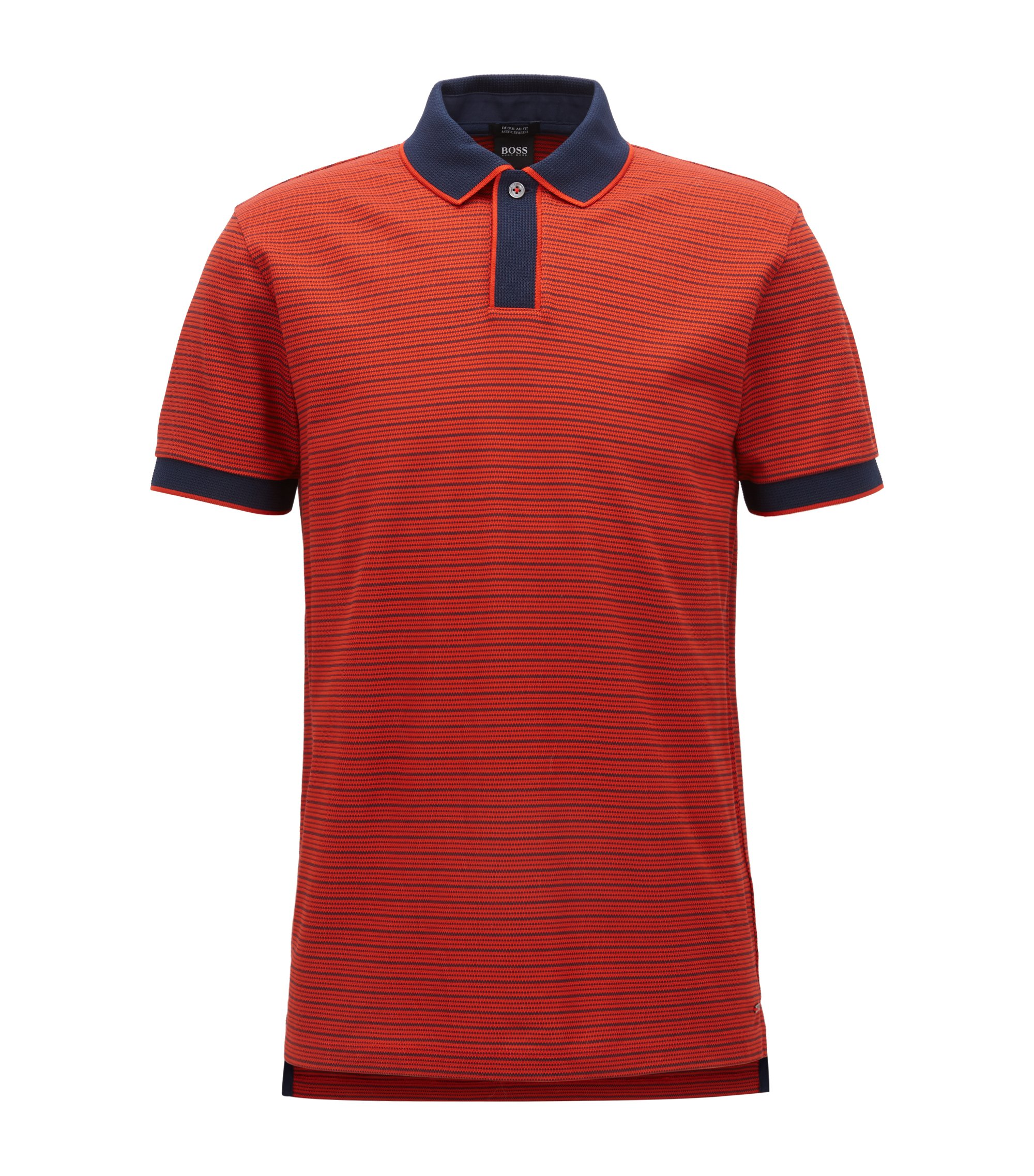 Regular-fit polo shirt in mercerised cotton, Dark Orange