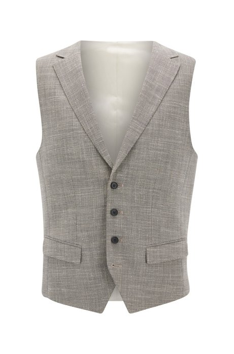 Slim-fit waistcoat in a stretch mélange blend BOSS Cheap 2018 Outlet 2018 New Free Shipping Footaction Sale High Quality QqIG46lv