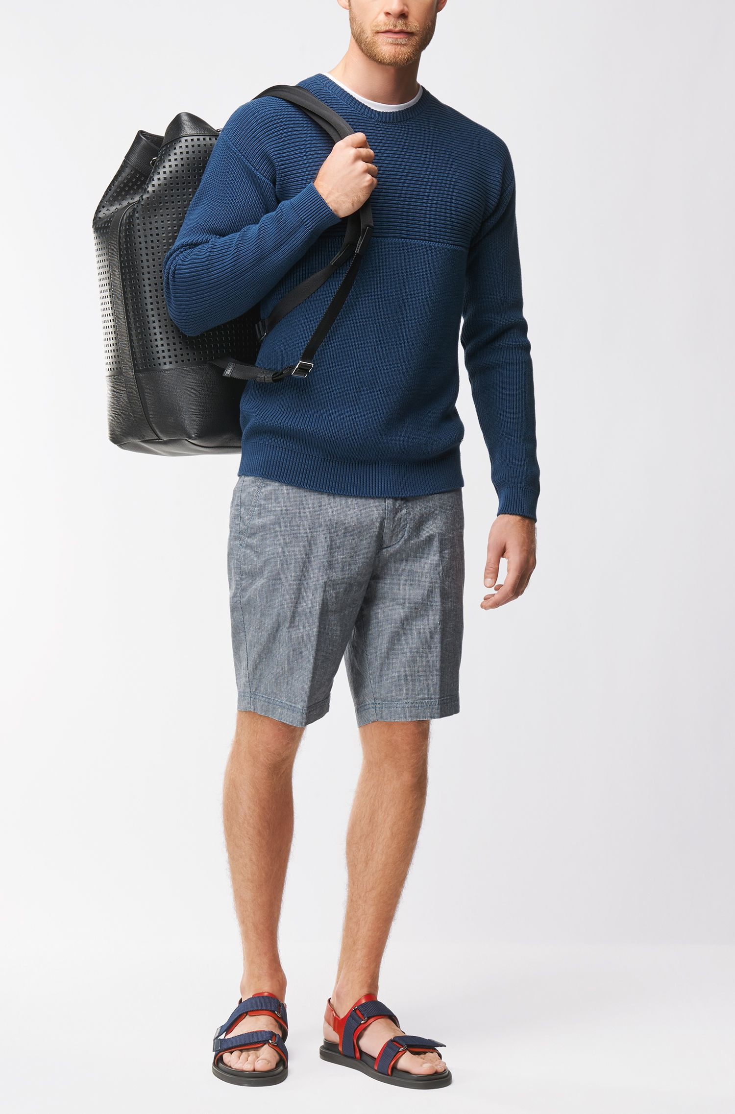 Shorts regular fit en mezcla de lino elástico