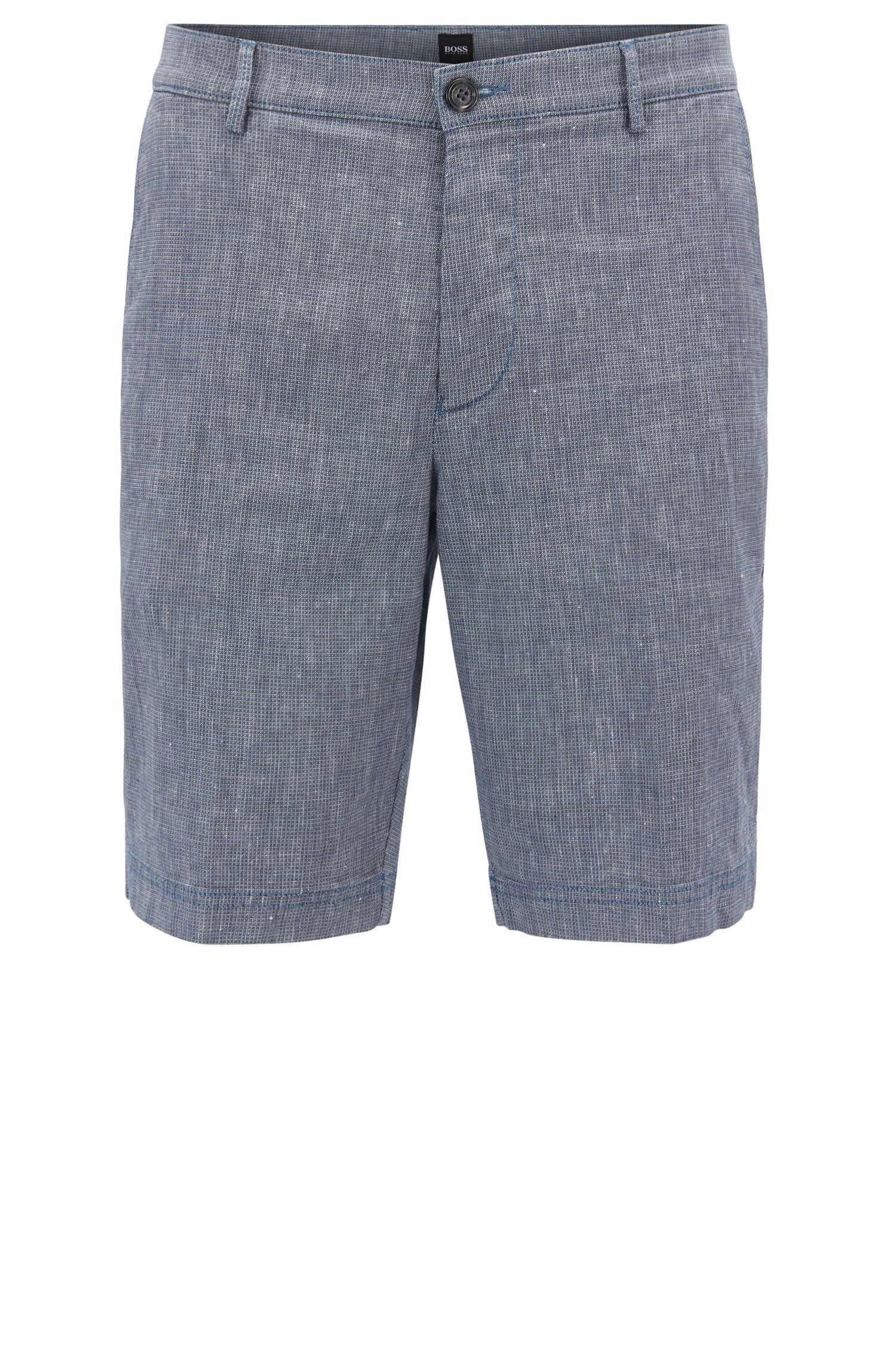 Pantaloncini regular fit in misto lino elasticizzato
