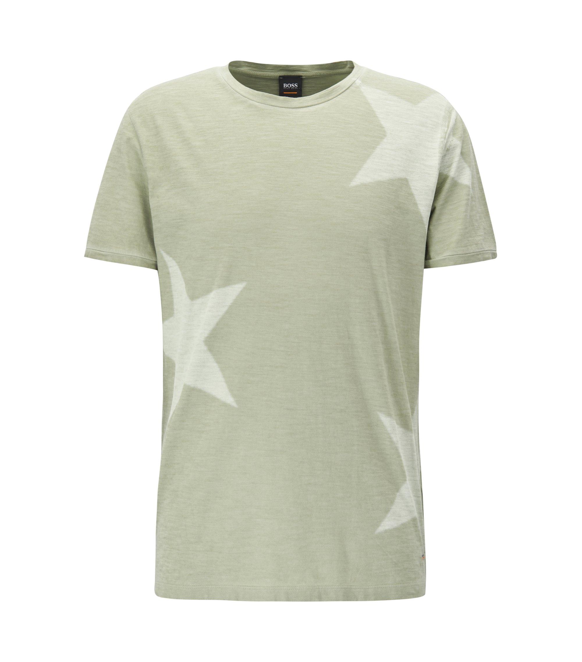 T-Shirt aus strukturiertem Baumwoll-Jersey mit Sternen-Print, Hellgrün