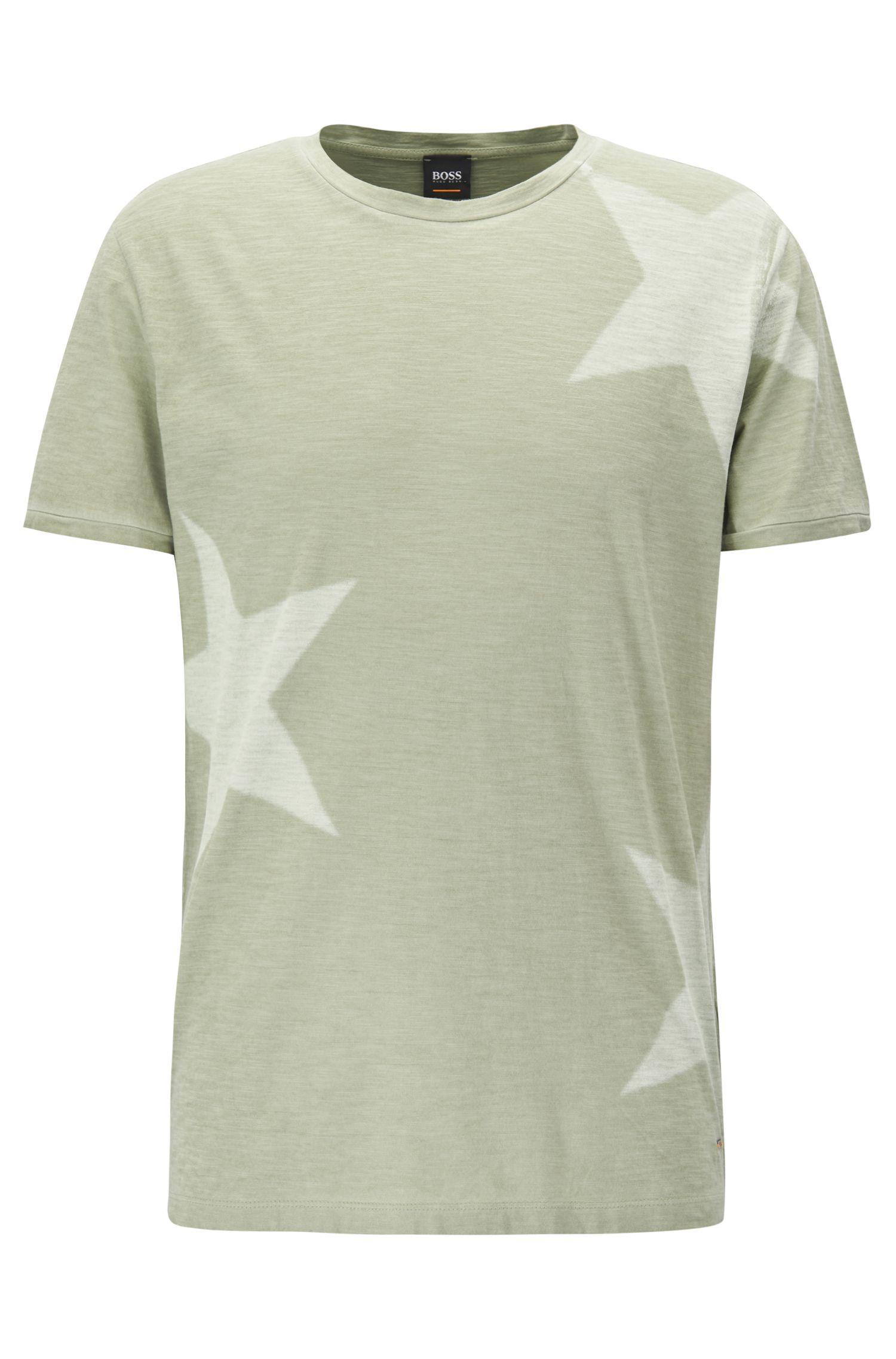 T-shirt con stampa con stelle in jersey di cotone slub-yarn