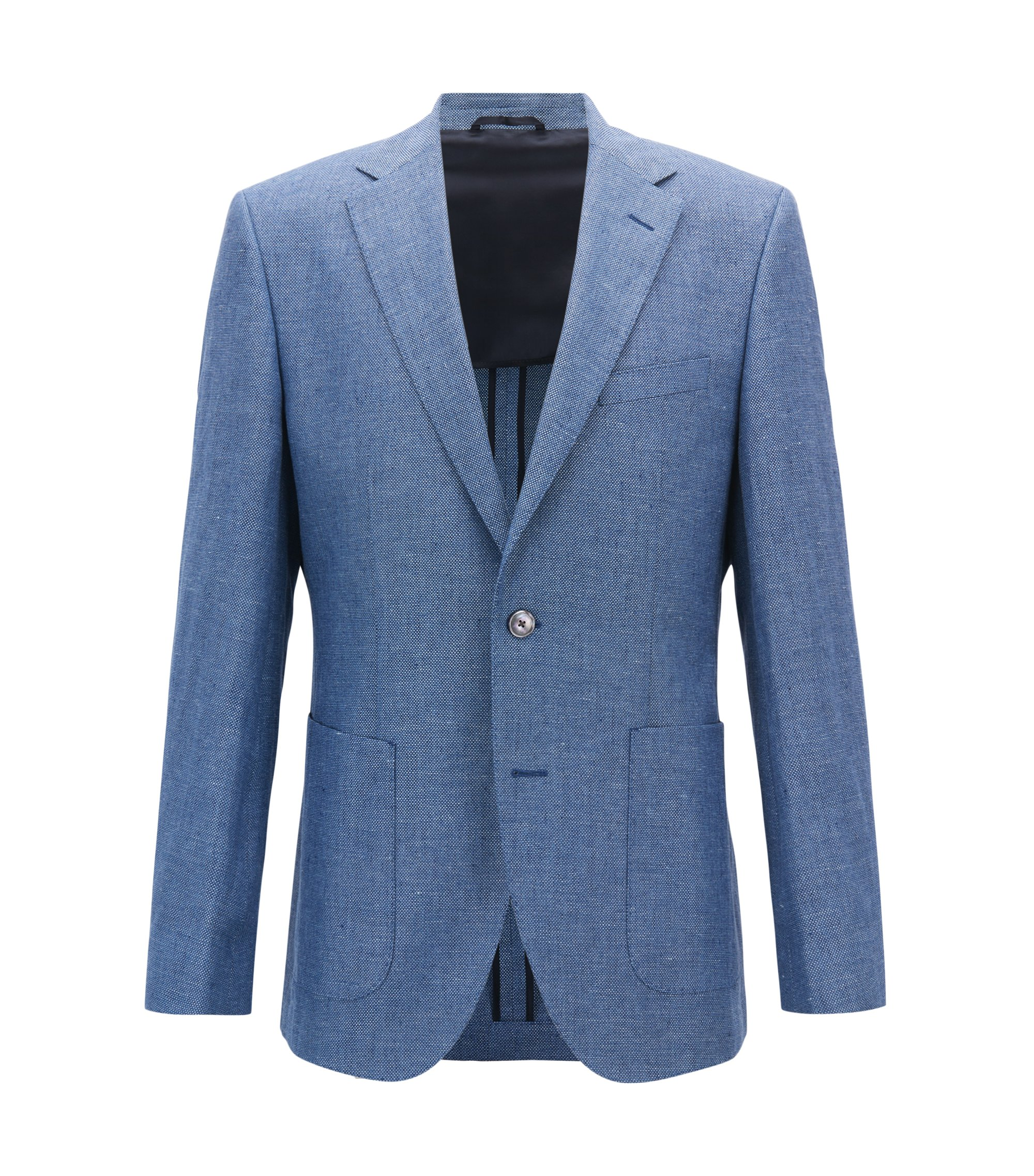 Blazer Regular Fit en lin mélangé chiné, Bleu