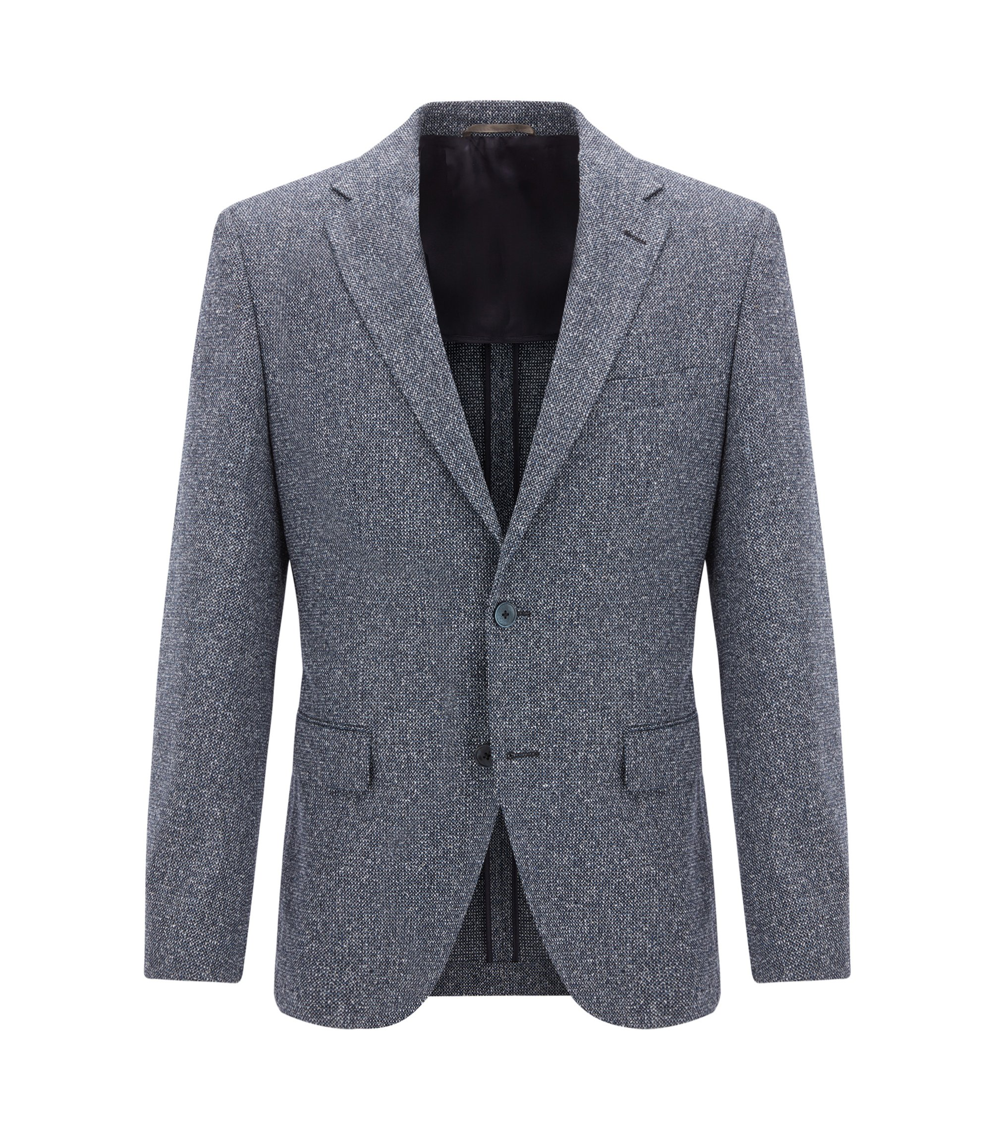 Regular-fit micro-pattern jacket with elbow patches, Dark Blue