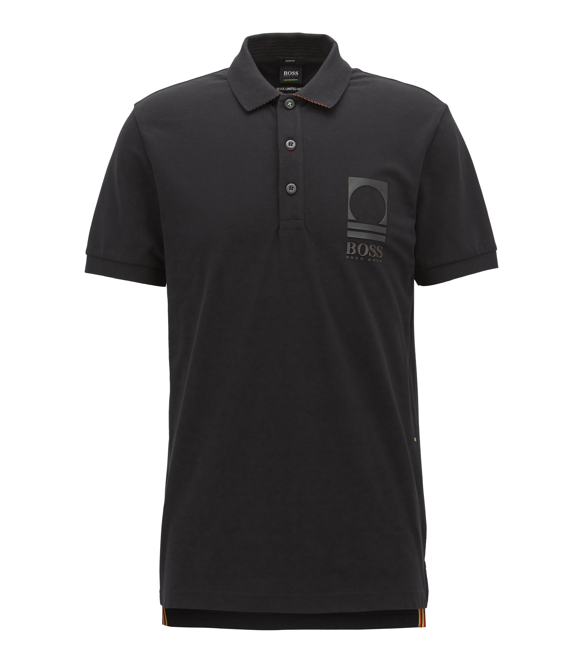 Flag-detail polo shirt in stretch-cotton piqué , Black