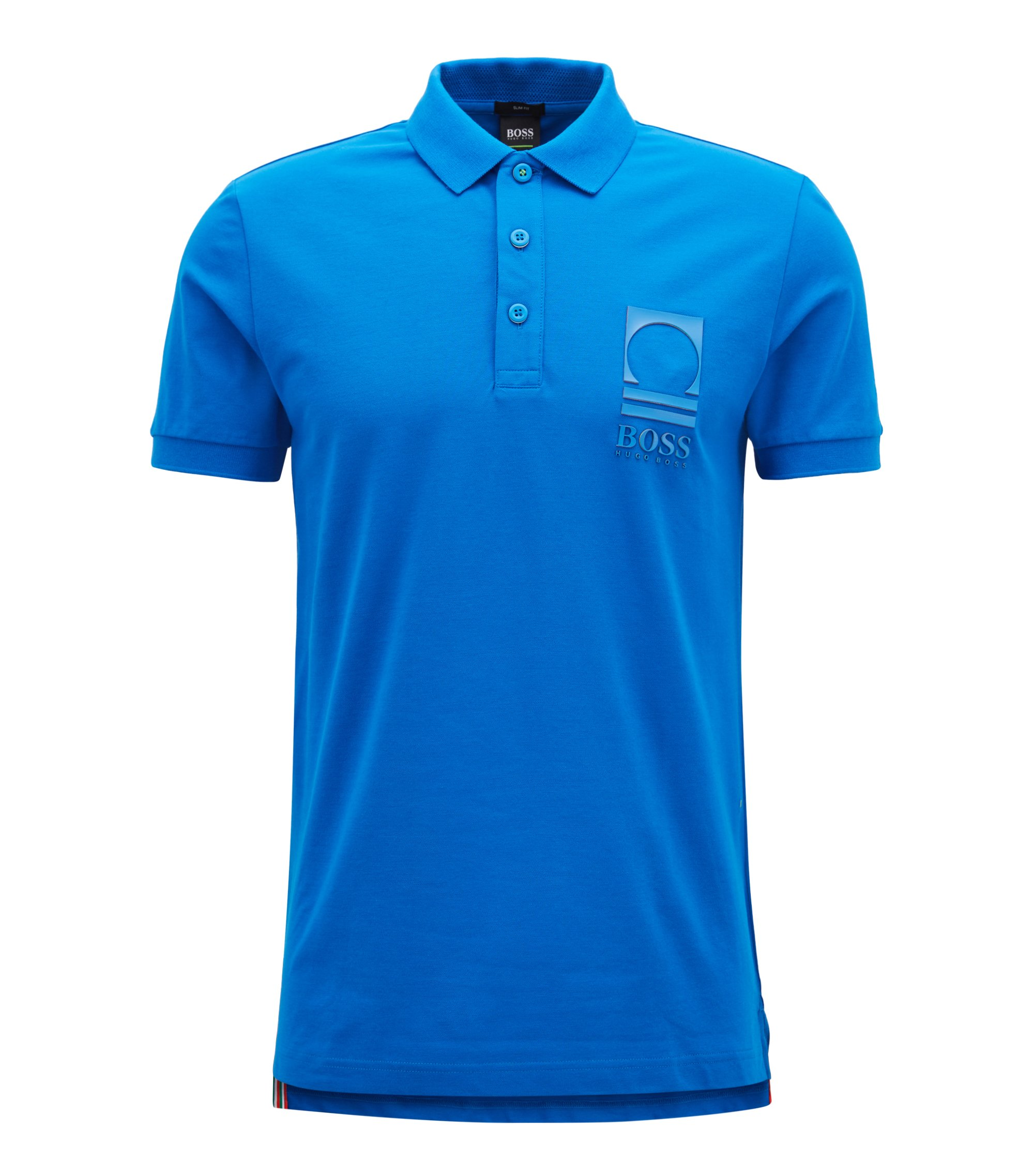 Flag-detail polo shirt in stretch-cotton piqué , Blue