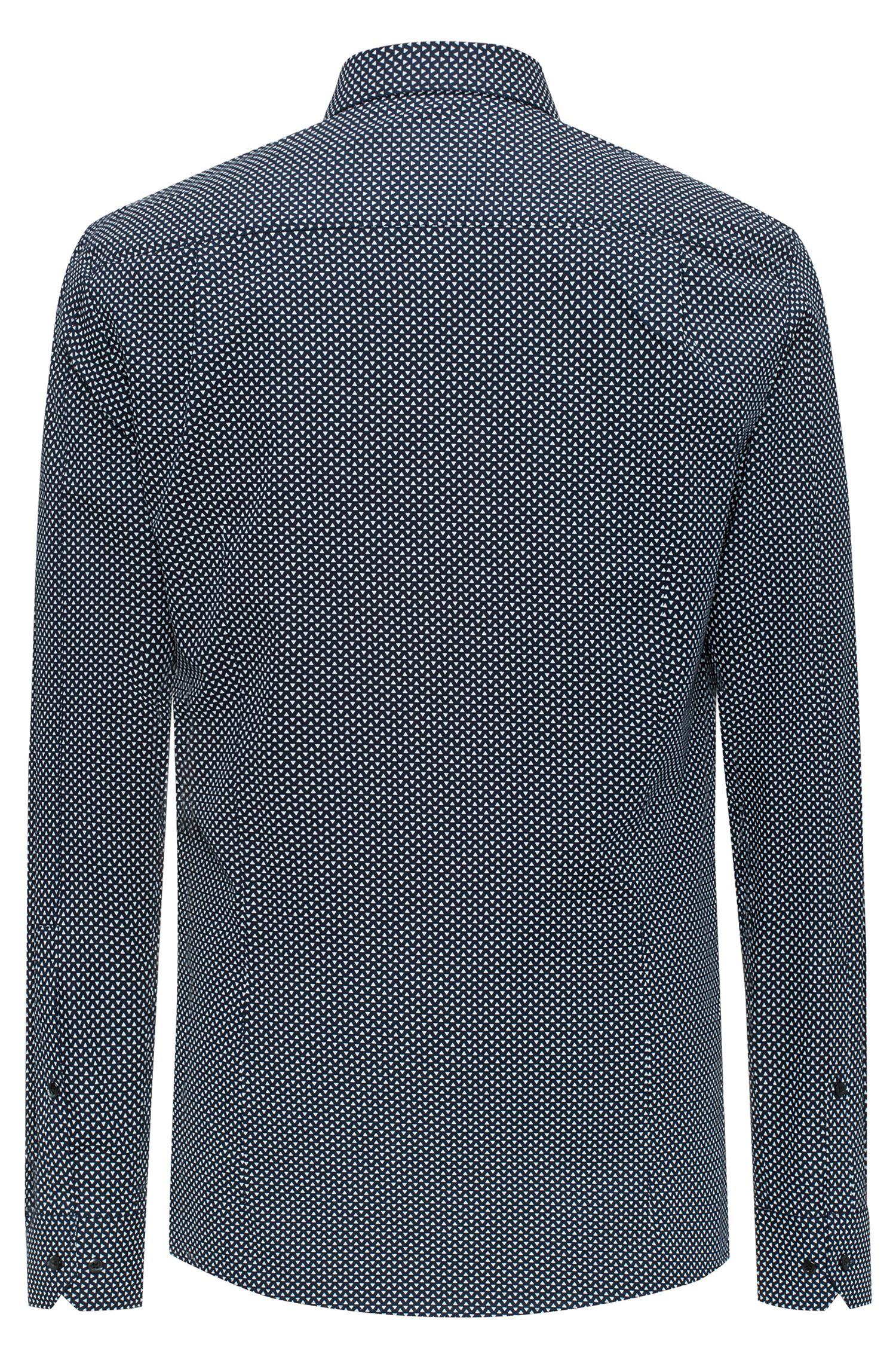 Slim-fit cotton shirt with all-over pigment print