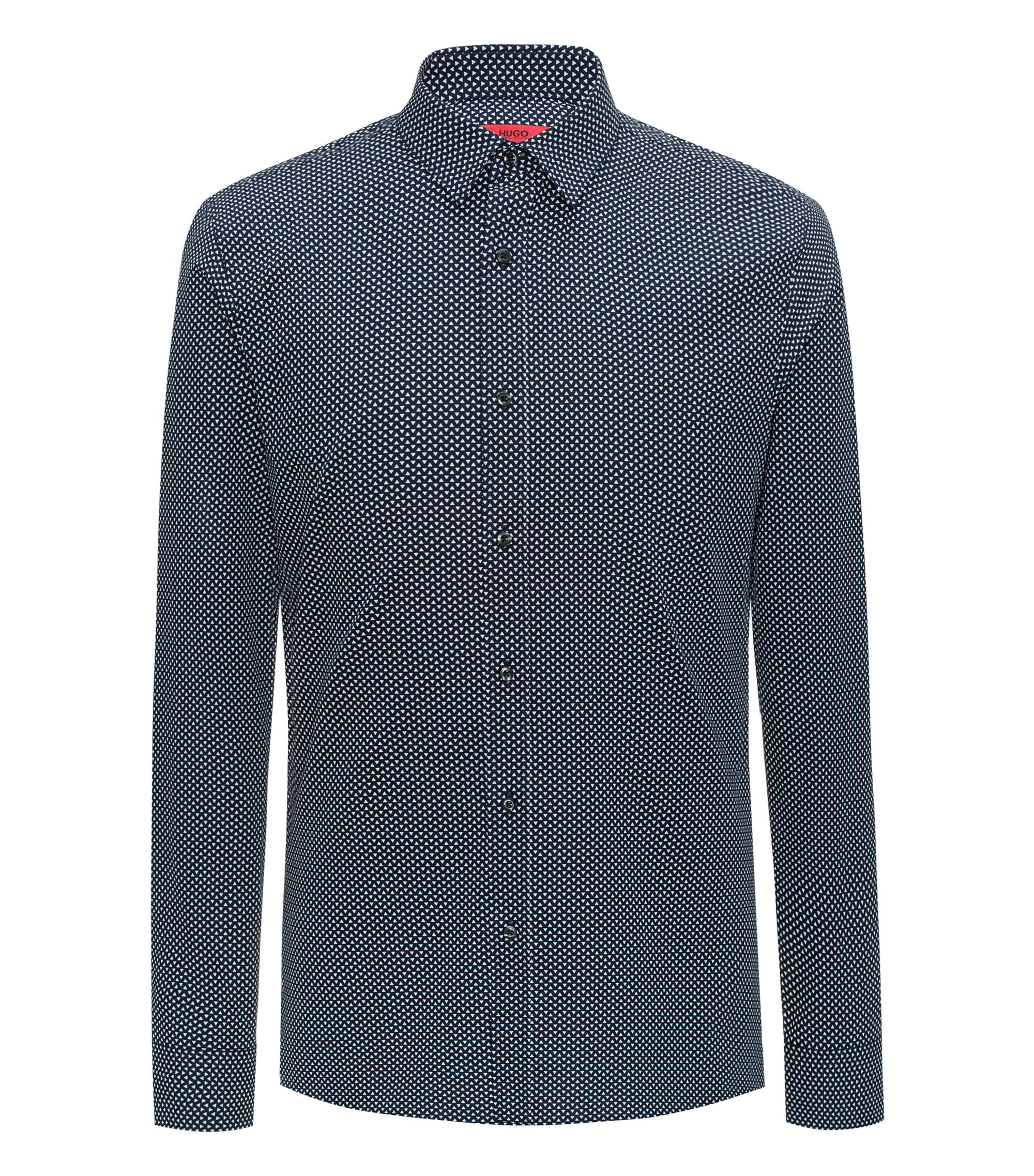 Slim-fit cotton shirt with all-over pigment print, Dark Blue