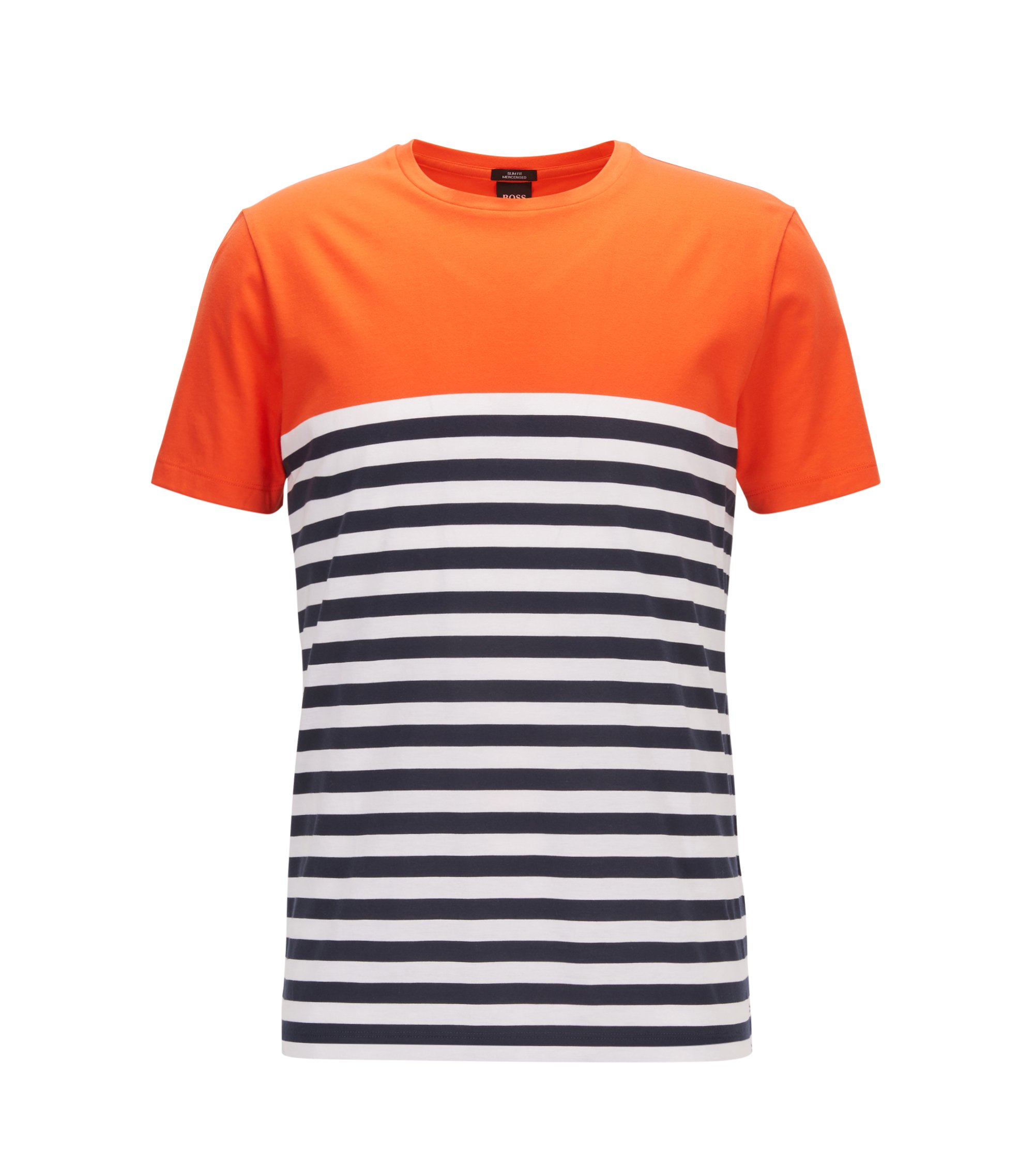 Slim-fit T-shirt in mercerised single-jersey cotton, Orange