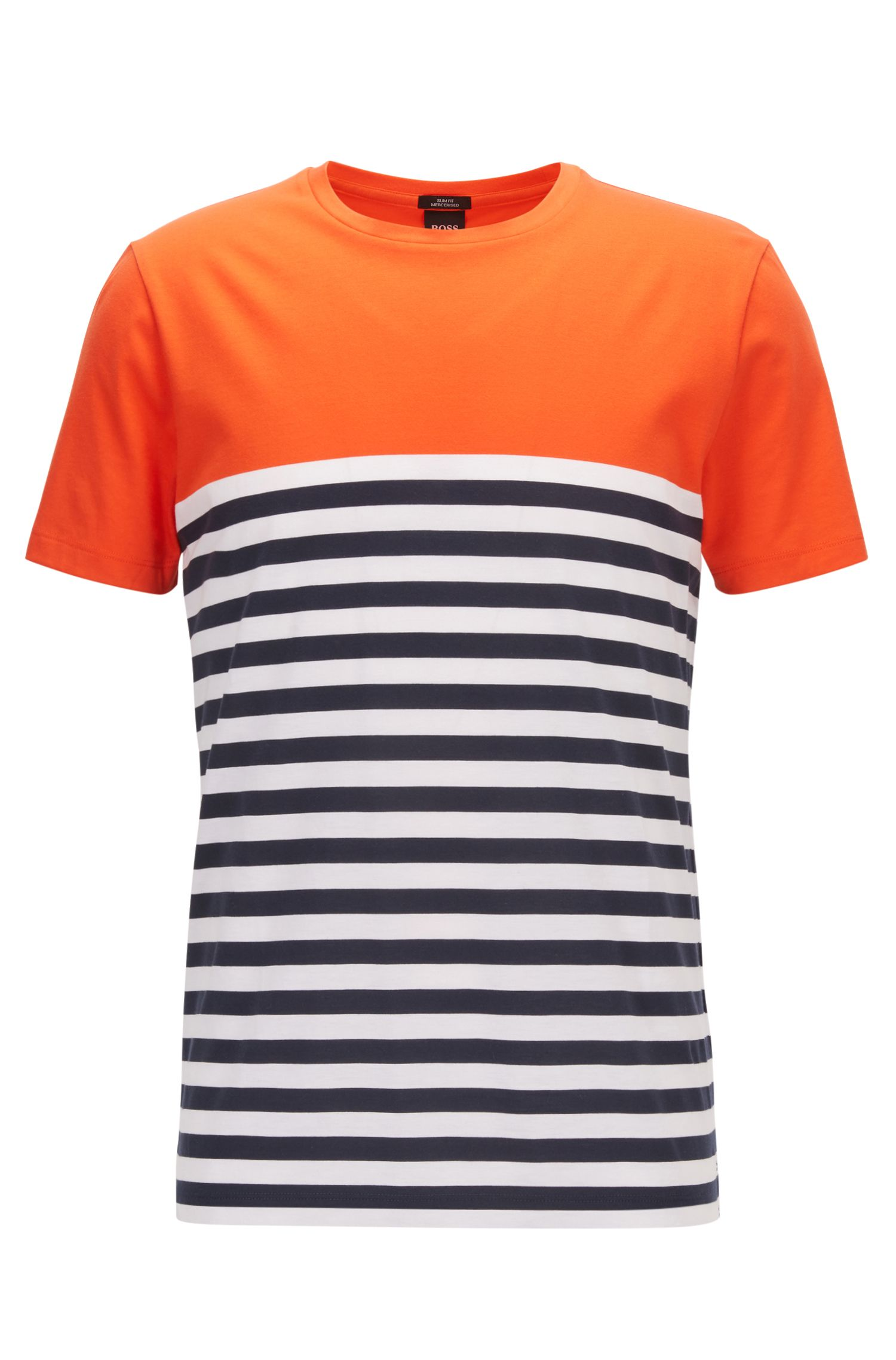 Slim-fit T-shirt in mercerised single-jersey cotton