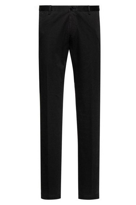 Slim-Fit Hose aus softer Baumwolle mit Elasthan-Anteil , Schwarz