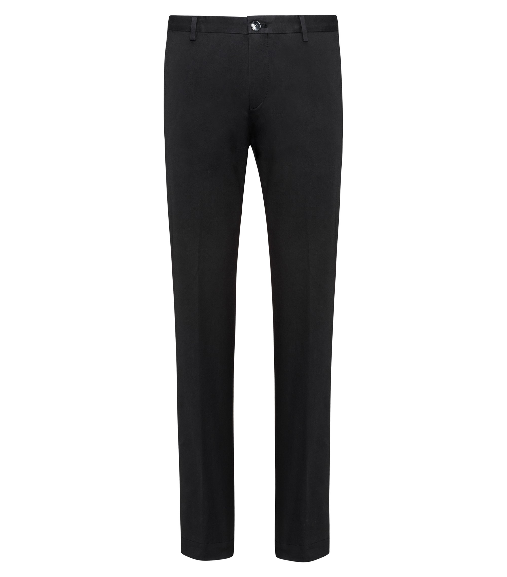 Slim-fit trousers in soft-washed stretch cotton , Black