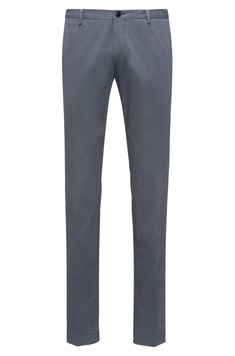 Slim-fit trousers in soft-washed stretch cotton , Dark Grey