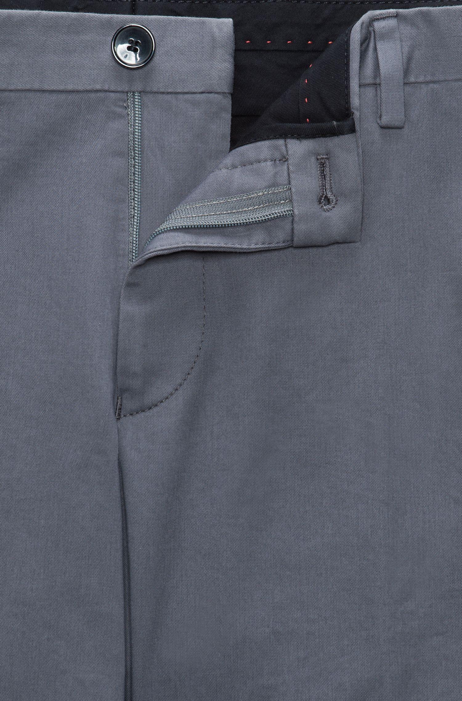 Slim-fit broek van zachte, gewassen stretchkatoen , Donkergrijs