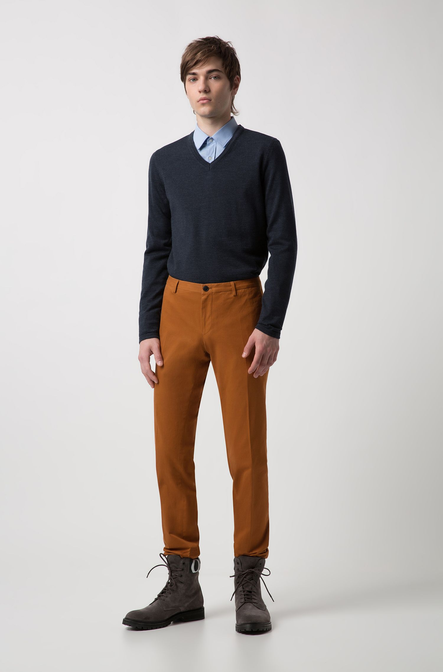 Slim-fit trousers in soft-washed stretch cotton , Brown