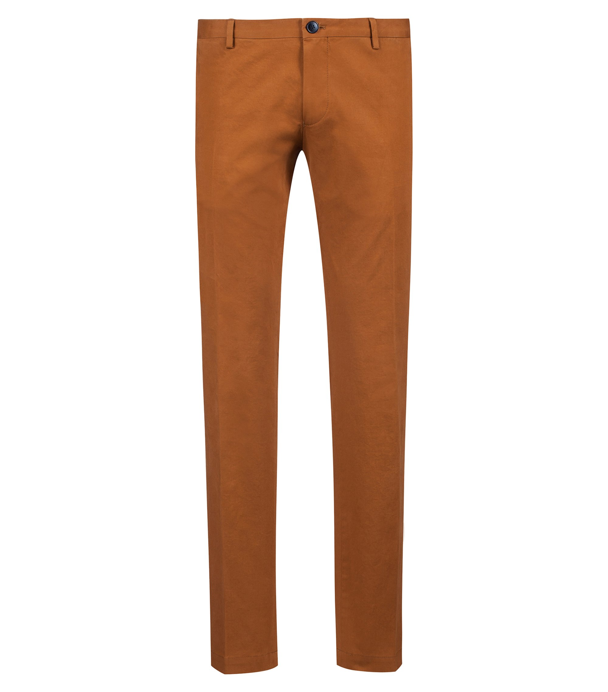 Pantalon Slim Fit en coton stretch légèrement délavé , Marron