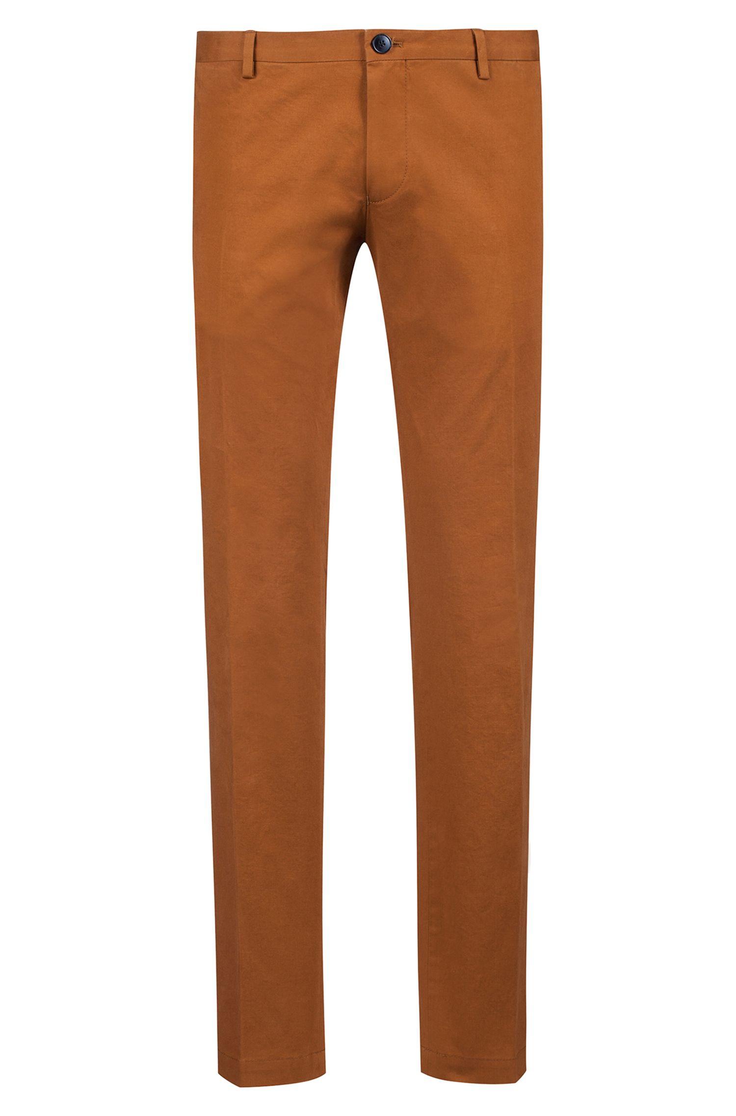 Pantaloni slim fit in cotone elasticizzato con lavaggio delicato , Marrone
