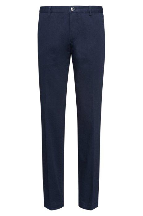 Pantalones slim fit en algodón elástico con lavado suave , Azul oscuro