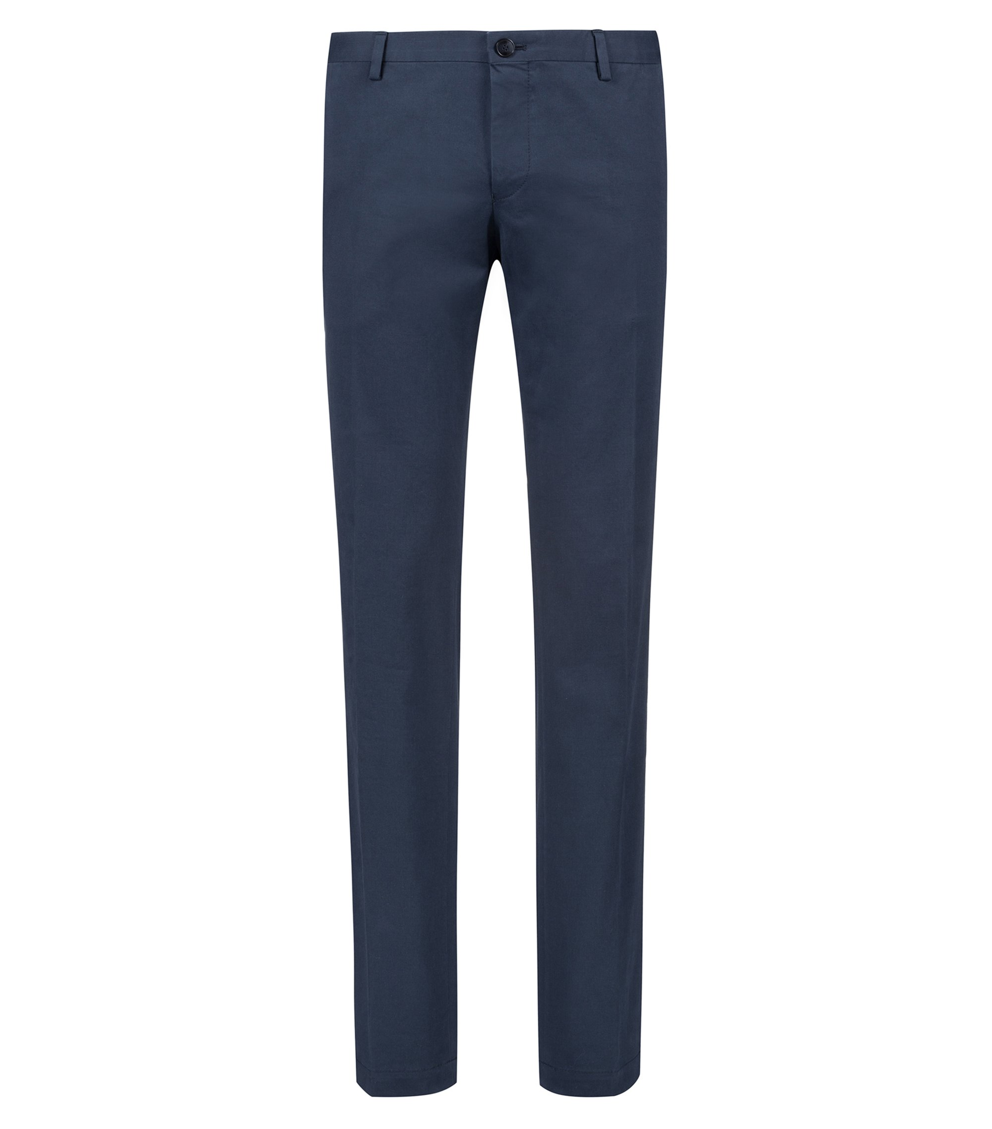 Slim-fit trousers in soft-washed stretch cotton , Dark Blue