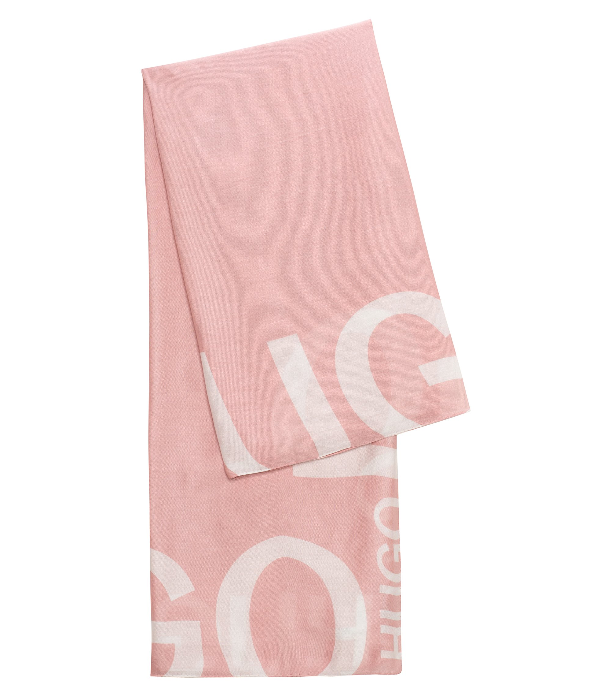 Reverse logo scarf in a modal blend, light pink