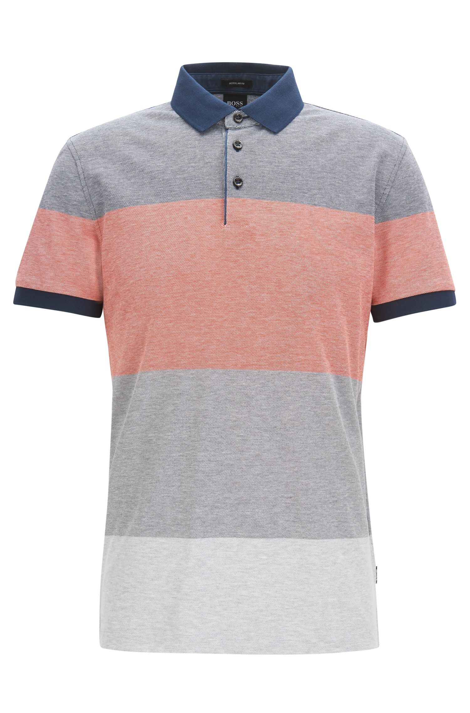 Colourblock polo van katoenpiqué