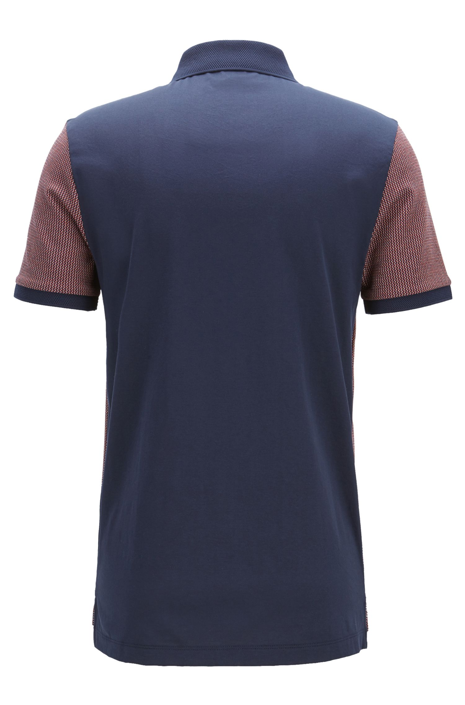 Slim-fit cotton polo shirt in birdseye jacquard
