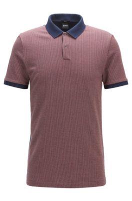 Poloshirt aus Baumwoll-Jacquard mit Birdseye-Muster, Dunkelblau