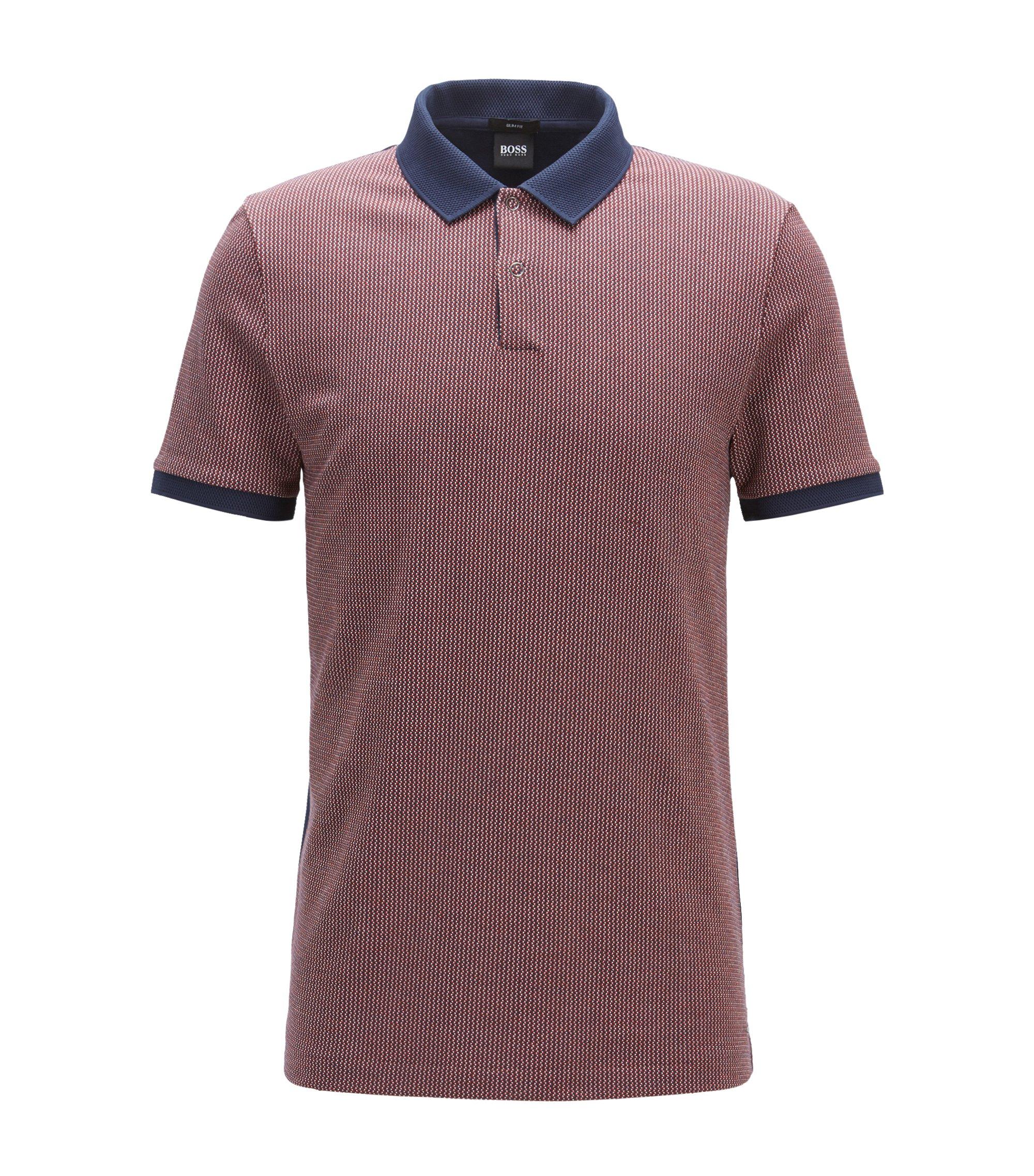 Slim-fit cotton polo shirt in birdseye jacquard, Dark Blue