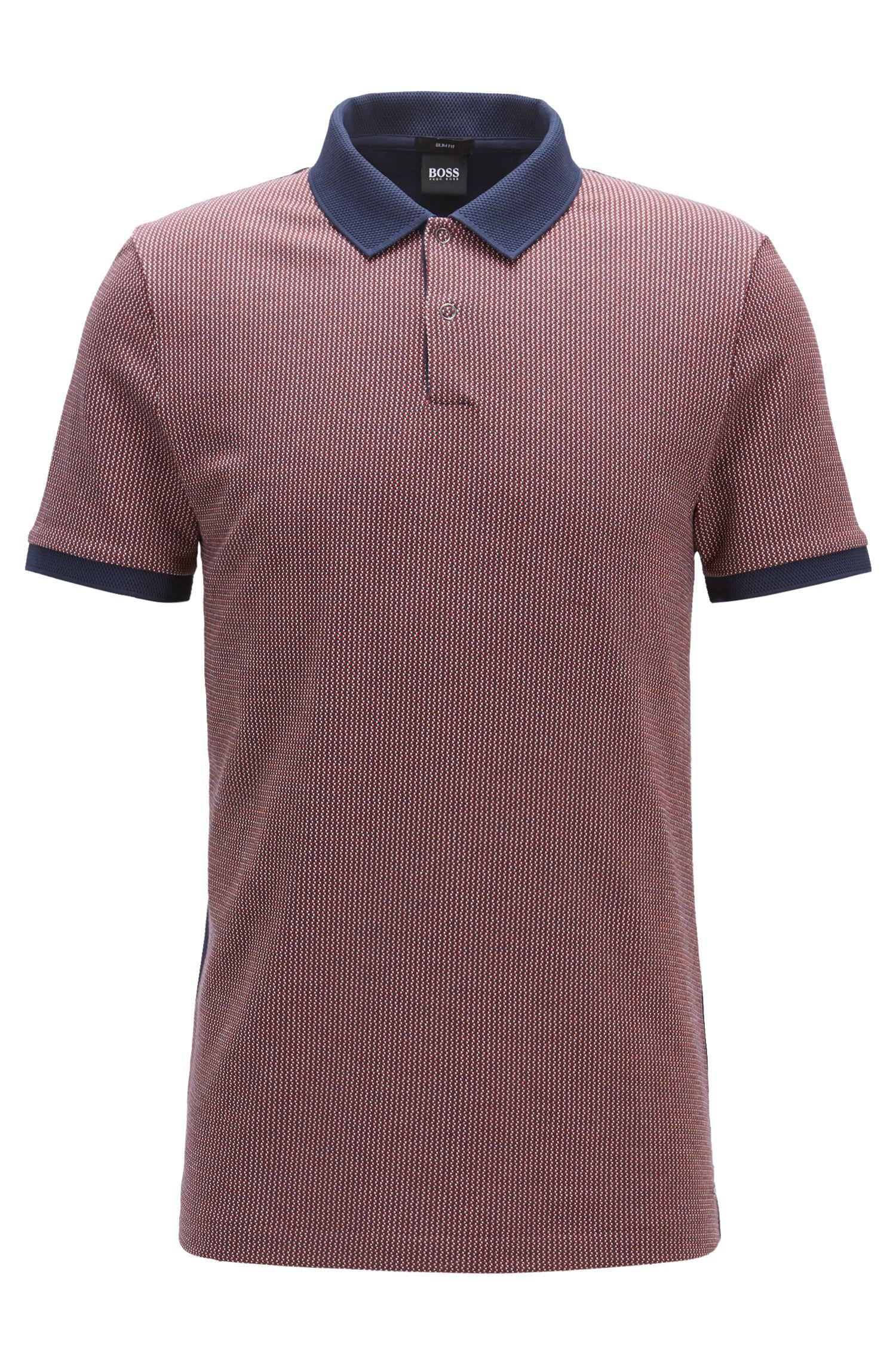 Slim-fit cotton polo shirt in birdseye jacquard