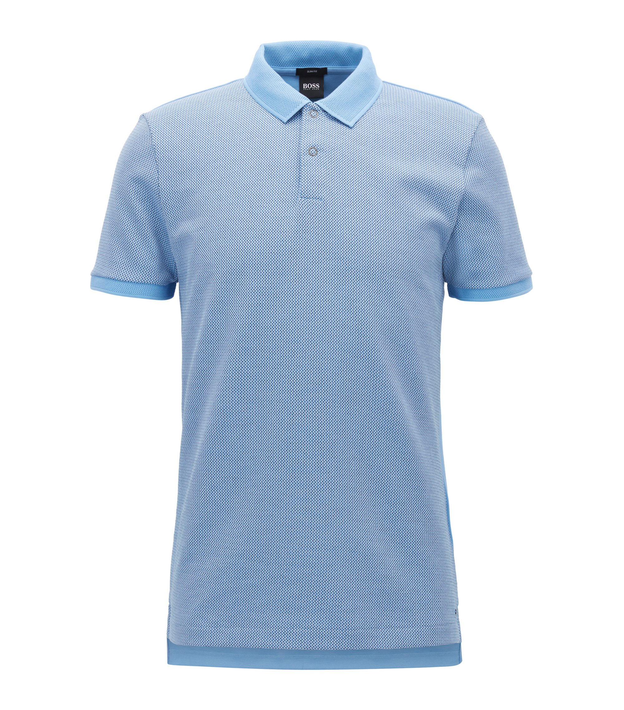 Poloshirt aus Baumwoll-Jacquard mit Birdseye-Muster, Hellblau