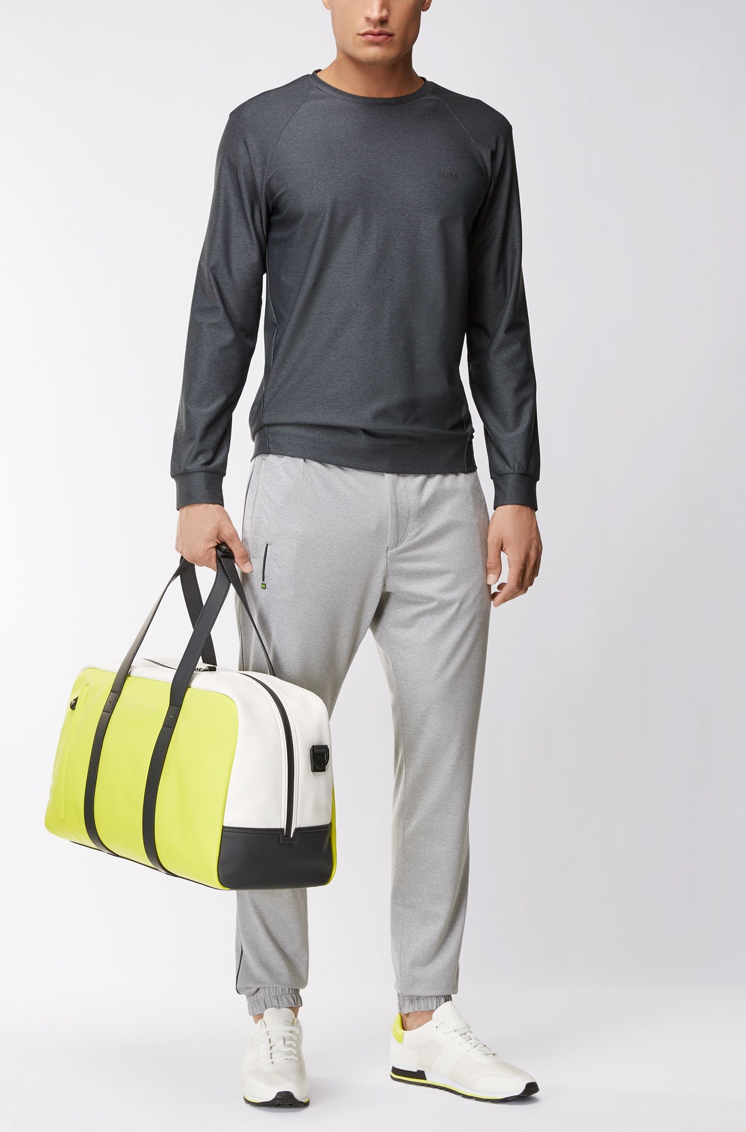 Slim-fit cuffed trousers in active-stretch mélange