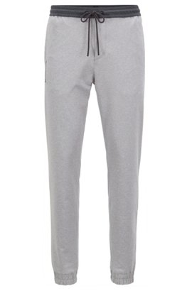 Slim-fit cuffed trousers in active-stretch mélange, Light Grey