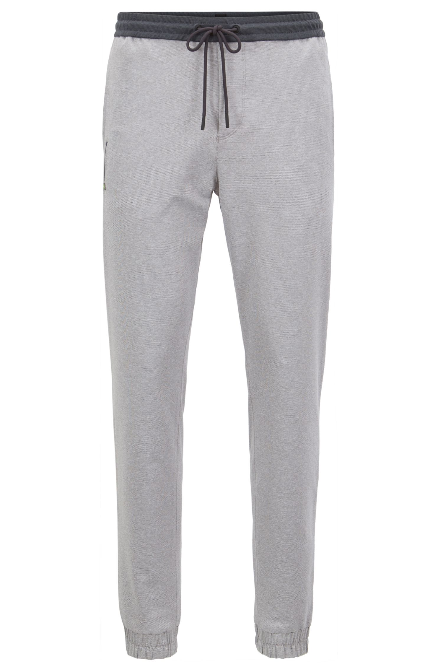 Pantaloni slim fit in mélange elasticizzato attivo con fondo gamba elastico